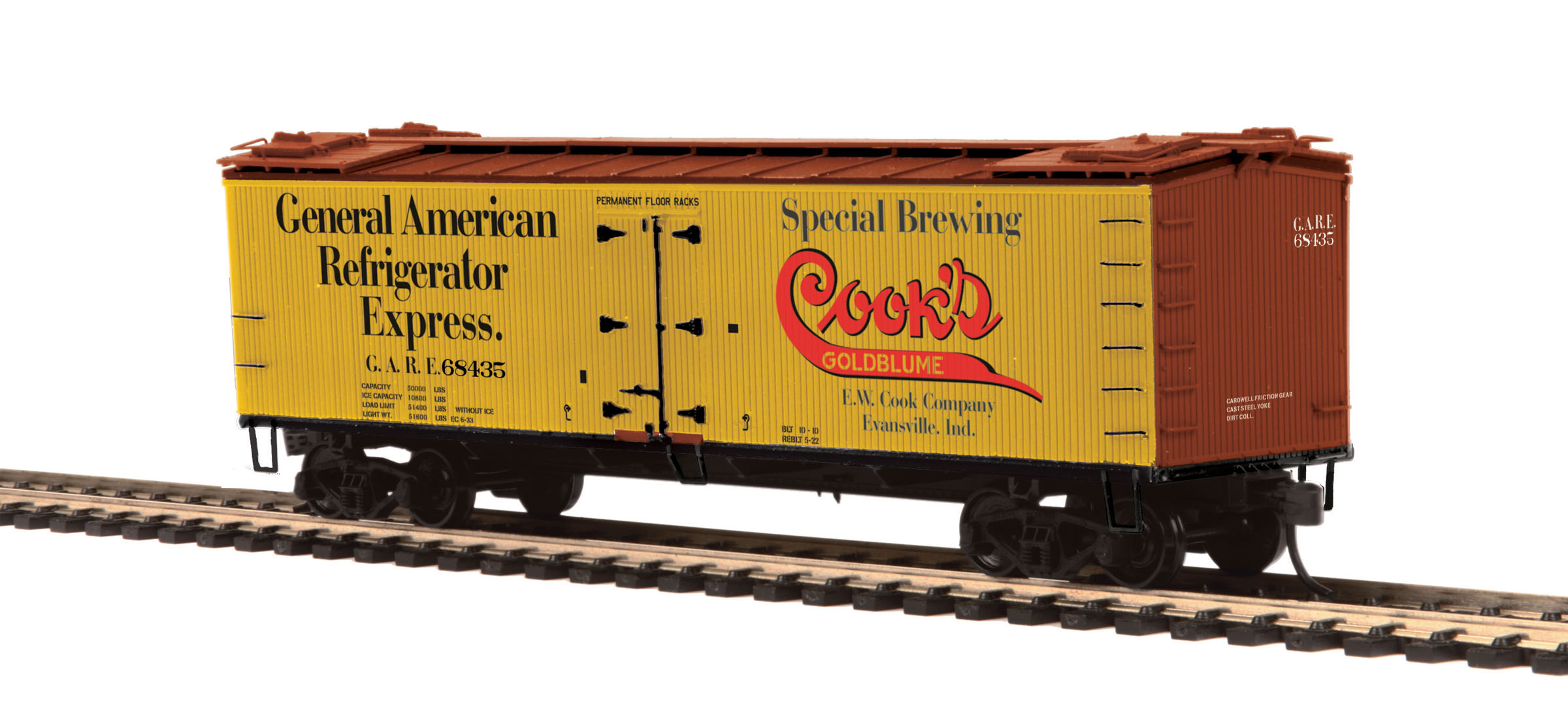 MTH 80-94046 HO R40-2 Wood Reefer, Cooks Goldblume Beer #68435 This is MTH 80-94046 HO R40-2 Wood Reefer, Cooks Goldblume Beer #68435. The coming of the railroad changed the way America ate and drank. Before the iron horse connected every town of any importance to the outside world, most food was grown or produced locally. The arrival of cheap, fast, refrigerated transport - in the form of the woodsided reefer with ice bunkers at each end - enabled local brewers, dairies, meat processors, and other food businesses to become players on a national scale.Until 1934, shippers could advertise their wares on leased bill - board reefers, each a hand-painted traveling work of art. That year, the Interstate Commerce Commission outlawed the flamboyant paint schemes because the cars often hauled shipments from other companies - whose freight bills thus unfairly paid to advertise the lessee's products.M.T.H. Electric Trains' HO premium rolling stock like this R40-2 reefer car are true 1/87 scale models of North American freight cars. Abundantly detailed with separate grab irons, steps, hatches and brake wheels ensure that these models will hold up to even the most discrminating eye. Outfitted with smooth rolling trucks and Kadee couplers make them a favorite of operators who enjoy long consists of colorful liveries, each available in multiple car numbers.Its key features are:Intricately detailed durable ABS bodyMetal wheels and axlesDecorative brake wheelsSeparate metal handrails1:87 scale dimensionsKadee® couplersDetailed undercarriageDetailed 4-wheel trucksUnit measures: 6 x 1 5/16 x 1 7/8Operates on 18 radius curvesCondition: Factory New (C-9All original; unused; factory rubs and evidence of handling, shipping and factory test run.Standards for all toy train related accessory items apply to the visual appearance of the item and do not consider the operating functionality of the equipment.Condition and Grading Standards are subjective, at best, and are intended to act as a gu