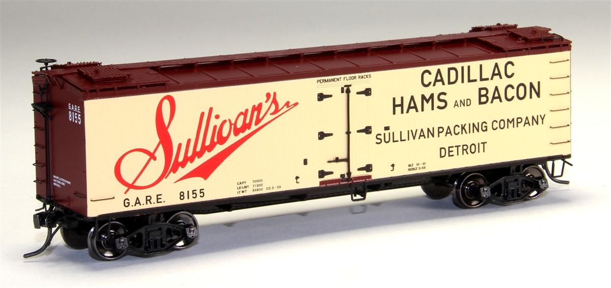 MTH 80-94049 HO Sulivans Packing R40-2 Wood Reefer #8150 This is MTH 80-94049 HO R40-2 Wood Reefer, Sulivans Packing #8150. The coming of the railroad changed the way America ate and drank. Before the iron horse connected every town of any importance to the outside world, most food was grown or produced locally. The arrival of cheap, fast, refrigerated transport - in the form of the woodsided reefer with ice bunkers at each end - enabled local brewers, dairies, meat processors, and other food businesses to become players on a national scale. Until 1934, shippers could advertise their wares on leased bill - board reefers, each a hand-painted traveling work of art. That year, the Interstate Commerce Commission outlawed the flamboyant paint schemes because the cars often hauled shipments from other companies - whose freight bills thus unfairly paid to advertise the lessee's products. M.T.H. Electric Trains' HO premium rolling stock like this R40-2 reefer car are true 1/87 scale models of North American freight cars. Abundantly detailed with separate grab irons, steps, hatches and brake wheels ensure that these models will hold up to even the most discrminating eye. Outfitted with smooth rolling trucks and Kadee couplers make them a favorite of operators who enjoy long consists of colorful liveries, each available in multiple car numbers. Its key features are: Intricately detailed durable ABS body Metal wheels and axles Decorative brake wheels Separate metal handrails 1:87 scale dimensions Kadee® couplers Detailed undercarriage Detailed 4-wheel trucks Unit measures: 6 x 1 5/16 x 1 7/8 Operates on 18 radius curvesCondition: Factory New (C-9All original; unused; factory rubs and evidence of handling, shipping and factory test run.Standards for all toy train related accessory items apply to the visual appearance of the item and do not consider the operating functionality of the equipment.Condition and Grading Standards are subjective, at best, and are intended to act as a g