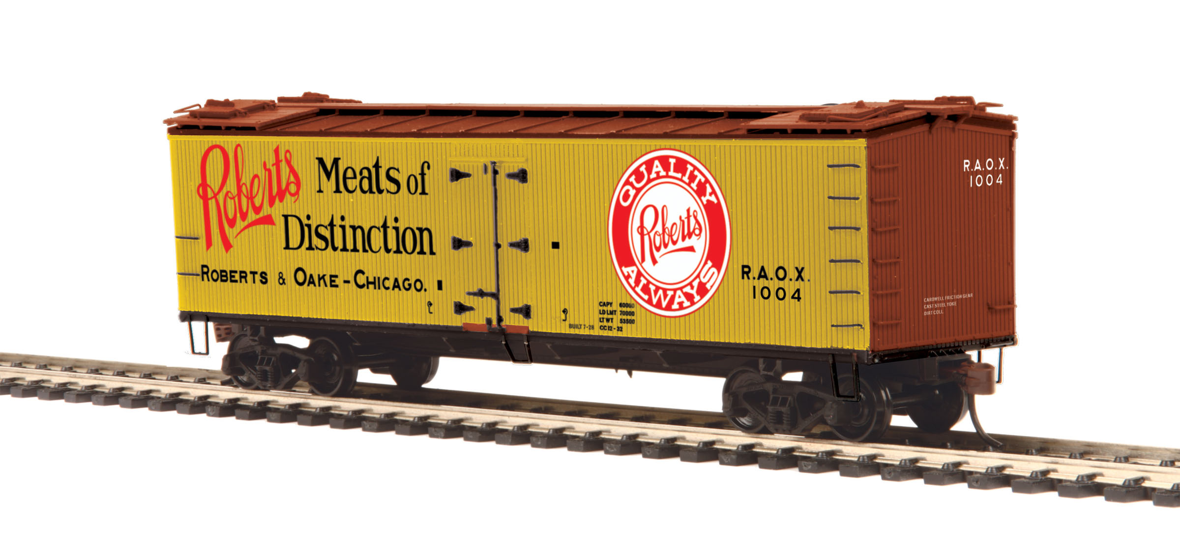 MTH 80-94052 HO Woodside Reefer Roberts & Oake Meats #1004 This is MTH 80-94052 HO Woodside Reefer Roberts & Oake Meats #1004. The coming of the railroad changed the way America ate and drank. Before the iron horse connected every town of any importance to the outside world, most food was grown or produced locally. The arrival of cheap, fast, refrigerated transport - in the form of the woodsided reefer with ice bunkers at each end - enabled local brewers, dairies, meat processors, and other food businesses to become players on a national scale.Until 1934, shippers could advertise their wares on leased bill - board reefers, each a hand-painted traveling work of art. That year, the Interstate Commerce Commission outlawed the flamboyant paint schemes because the cars often hauled shipments from other companies - whose freight bills thus unfairly paid to advertise the lessee's products.M.T.H. Electric Trains' HO premium rolling stock like this R40-2 reefer car are true 1/87 scale models of North American freight cars. Abundantly detailed with separate grab irons, steps, hatches and brake wheels ensure that these models will hold up to even the most discrminating eye. Outfitted with smooth rolling trucks and Kadee couplers make them a favorite of operators who enjoy long consists of colorful liveries, each available in multiple car numbers.Its key features are:Intricately detailed durable ABS bodyMetal wheels and axlesDecorative brake wheelsSeparate metal handrails1:87 scale dimensionsKadee® couplersDetailed undercarriageDetailed 4-wheel trucksUnit measures: 6 x 1 5/16 x 1 7/8Operates on 18 radius curvesCondition: Factory New (C-9All original; unused; factory rubs and evidence of handling, shipping and factory test run.Standards for all toy train related accessory items apply to the visual appearance of the item and do not consider the operating functionality of the equipment.Condition and Grading Standards are subjective, at best, and are intended to act as a guide. )Op