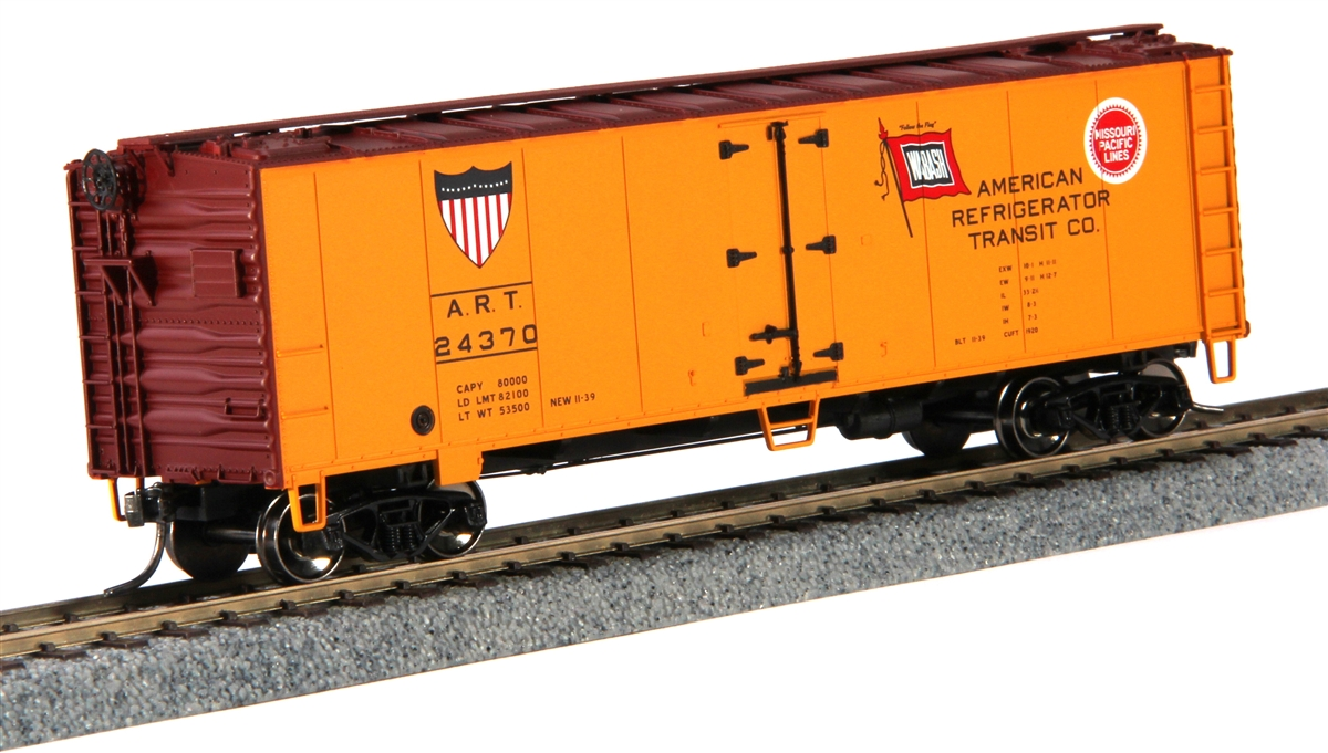MTH 85-78045 American Refrigerator HO Scale 40 Steel Reefer #24370 This is MTH 85-78045 HO 40' Steel Reefer American Refrigerator #24370. 40' steel sided reefer car, American Refrigerator. Ready 2 Rail™ provides the superior quality and detailing you've come to expect from M.T.H. coupled with a competitive price point for the entry-level HO hobbyist. These cars offer the same construction and body detailing as their more expensive counterparts, but designed for the budget-minded model railroader. It's the perfect way to add to a Ready-To-Run set or to introduce someone new to the hobby.Its key features are:Intricately detailed durable ABS bodyMetal wheels and axlesDecorative brake wheels1:87 scale dimensionsKadee couplersDetailed undercarriageDetailed 4-wheel trucksUnit measures: 6 1/4 x 1 1/2 x 2 1/8Operates on 18 radius curvesCondition: Factory New (C-9All original; unused; factory rubs and evidence of handling, shipping and factory test run.Standards for all toy train related accessory items apply to the visual appearance of the item and do not consider the operating functionality of the equipment.Condition and Grading Standards are subjective, at best, and are intended to act as a guide. )Operational Status: FunctionalThis item is brand new from the factory.Original Box: Yes (P-9May have store stamps and price tags. Has inner liners.)Manufacturer: MTHModel Number: 85-78045MSRP: $24.99Scale/Era: HO ModernModel Type: Freight CarsAvailability: Ships in 3 to 5 Business Days.The Trainz SKU for this item is P11663322. Track: 11663322 - FS - 001 - TrainzAuctionGroup00UNK - TDIDUNK