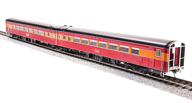 Broadway Limited 1588 HO Southern Pacific  Coast Daylight  Train #W246 This is a Broadway Limited 1588 HO Scale Southern Pacific Coast Daylight Train #99 Series Articulated Chair Car #W2466/#M2465. Features: 1953 Post-war Version,Unskirted Cars,Lettered Southern Pacific,Beautifully DetaiLed,Accurate Passenger Cars,Authentic Design,Paint and Color Schemes,Many Separately Applied Details Including Hand Rails,DetaiLed,Properly colored interiors,Lighted Interiors,Operational Exterior Lighting (where applicable),PrototypicAlly Accurate Articulated Cars (where applicable),Antennae (where applicable),Operating Full-width,Sprung Diaphragms,PrototypicAlly Accurate Match with PCM SP GS-4 Locomotives and PCM Alco PA/PB Locomotives,Observation Car: Lighted Drumhead & Marker Lights,Body Composition: ABS,Chassis Composition: ABS,(2) Kadee-compatible operating metal knuckle couplers.,Compatible Tracks: Code 70,83,100 Rail,Recommended Minimum Radius: 22. Imagine seeing the beautiful Southern Pacific GS-4 pulling a string of those magnificently painted passenger cars along the California coast. Then add the sight of a Cab Forward applying her muscle for the climb over the steep grade between San Luis Obispo and Santa Margarita. Any railfan's delight.The Morning Daylight was two separate trains, #98 and #99. Each operated as a unit train and cars were not normAlly added or removed, but for extra capacity, chair car pairs were added. The two trains left San Francisco and Los Angeles at 8am, passed each other in the neighborhood of San Luis Obispo, and arrived around 6pm.Often cAlled the most beautiful train in the world, BLI has modeLed both consists and will deliver them in monthly intervals.Condition: Factory New (C-9All original; unused; factory rubs and evidence of handling, shipping and factory test run.Standards for all toy train related accessory items apply to the visual appearance of the item and do not consider the operating f