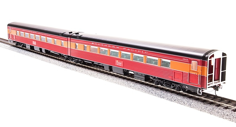 Broadway Limited 1766 HO Southern Pacific 1953 Coast Daylight #W2482/# This is a Broadway Limited 1766 HO Scale Southern Pacific 1953 Coast Daylight Articulated Chair Car No Skirts #W2482/#M2481 (Daylight, orange, red, black).Condition: Factory New (C-9All original; unused; factory rubs and evidence of handling, shipping and factory test run.Standards for all toy train related accessory items apply to the visual appearance of the item and do not consider the operating functionality of the equipment.Condition and Grading Standards are subjective, at best, and are intended to act as a guide. )Operational Status: FunctionalThis item is brand new from the factory.Original Box: Yes (P-9May have store stamps and price tags. Has inner liners.)Manufacturer: Broadway LimitedModel Number: 1766Road Name: Southern PacificMSRP: $149.99Scale/Era: HO ModernModel Type: Passenger CarsAvailability: Ships in 2 Business Days!The Trainz SKU for this item is P11967079. Track: 11967079 - No Location Assigned - 001 - TrainzAuctionGroup00UNK - TDIDUNK