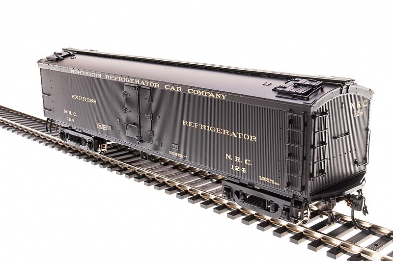 Broadway Limited 1836 HO Northern Refrigerator Car 53'6  Express Reefe This is a Broadway Limited 1836 HO Scale Northern Refrigerator Car Company NRC General American (GACX) 53'6 Wood Express Reefer - Ready to Run #124 (Pullman Green). Features:Plastic (ABS) body with ABS chassis,Metal wheels and axles milled for Ultra-Smooth Friction-Free movement,PrototypicAlly accurate design, paint, and color schemes,Many separate applied details including grab irons, steps, etc.,Operating Magnetic knuckle couplers,Will operate on Code 70, 83 and 100 rail,Recommended minimum radius: 18 in.Condition: Factory New (C-9All original; unused; factory rubs and evidence of handling, shipping and factory test run.Standards for all toy train related accessory items apply to the visual appearance of the item and do not consider the operating functionality of the equipment.Condition and Grading Standards are subjective, at best, and are intended to act as a guide. )Operational Status: FunctionalThis item is brand new from the factory.Original Box: Yes (P-9May have store stamps and price tags. Has inner liners.)Manufacturer: Broadway LimitedModel Number: 1836Road Name: Northern Refrigerator CarMSRP: $34.99Scale/Era: HO ModernModel Type: Passenger CarsAvailability: Ships in 2 Business Days!The Trainz SKU for this item is P11975086. Track: 11975086 - No Location Assigned - 001 - TrainzAuctionGroup00UNK - TDIDUNK