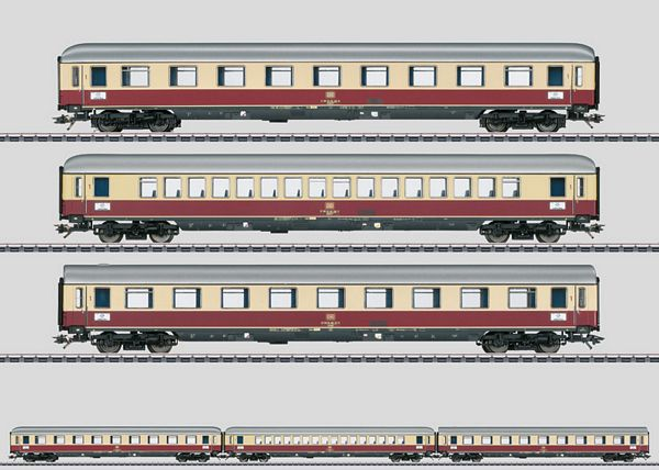 Marklin 43853 HO TEE  Helvetia  Express Train Passenger 3-Car Set This is a Marklin, Inc 43853 HO Scale TEE Helvetia Express Train Passenger Car Set. Prototype: 3 different type TEE express train passenger cars for the TEE Helvetia, used between Zürich and Hamburg-Altona. 2 type Avümh 111 TEE compartment cars and 1 type Apümh 121 TEE open seating car. The cars look as they did in the summer of 1975. Model: The cars have underbodies and skirting specific to the car types. One type Avümh car and the Apümh car have Minden-Deutz heavy design trucks with disk brakes, magnetic rail brakes, and separately applied generators as in the prototype. The other type Avümh car has Minden-Deutz heavy design trucks with double brake shoe brakes, magnetic rail brakes, and a separately applied generator. All of the cars have factory-installed LED interior lighting and operating current-conducting couplers. Maintenance-free warm white LEDs are used for the lighting. A pickup shoe is mounted on one of the cars. The 73407 marker light kit can be installed on all of the cars. Total length over the buffers 84.8 cm / 33-3/8. Highlights: •Factory-installed LED interior lighting included on all of the cars. •Operating current-conducting couplers. •Interior lighting can be controlled by means of item number 43866.Condition: Factory New (C-9All original; unused; factory rubs and evidence of handling, shipping and factory test run.Standards for all toy train related accessory items apply to the visual appearance of the item and do not consider the operating functionality of the equipment.Condition and Grading Standards are subjective, at best, and are intended to act as a guide. )Operational Status: FunctionalThis item is brand new from the factory.Original Box: Yes (P-9May have store stamps and price tags. Has inner liners.)Manufacturer: MarklinModel Number: 43853MSRP: $239.99Scale/Era: HO ModernModel Type: Passenger CarsAvailability: Ships in 3 to 5 Business Days.The Trainz SKU for this item is P12107002. Track: 1