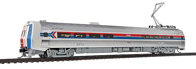 Walthers 920-13801 HO Amtrak Budd Metroliner Electric Multiple Unit (E This is Walthers 13801 Mtlnr Snk Br DC AMTK #864. WalthersProto Budd Metroliner Electric Multiple Unit (EMU) snack bar coach, standard DC. Amtrak® #864 (Phase I, wide red & blue stripes). Flashing by at 100+mph, Metroliners symbolized American high-speed rail service for years, serving business travelers on Penn Central and later Amtrak as the fastest scheduled trains in the western hemisphere!Just as the prototypes broke new ground in style and technology, so do our Metroliners! Completely new from roof to rails, we've captured the unique shape of the Coach, Snack Bar Coach and Parlor Car in all-new tooling.Each comes fully assembled with Walthers real metal stainless steel finish complemented by ultra-sharp Amfleet Phase I paint and lettering including factory-printed car numbers. Fine details, from a full underbody to installed grab irons, from prototypically tinted windows to sprung General Electric or Westinghouse pantographs as appropriate, are all included. Powered by the proven technology of WalthersProto locos, each car has its own high torque motor, driving a powered truck with helical gears, and comes in dual mode Tsunami Sound & DCC (sound operates on DC) or Standard DC versions for every layout.Its key features are:Based on equipment in service 1968-1982All-new tooling for 3 prototype car stylesOne helical geared power truck & skew-wound high torque motor in each unitWorking headlight, gyralight, reversing a-end red marker lights, number boards & interior lightingClassic Amfleet Phase I scheme on standard edition carsDetailed, spring-loaded GE or Westinghouse pantographs per prototypeReal metal finish simulates stainless steelCorrect A & B end detailsAll grab irons factory installedFactory-printed road numbersPrototypically accurate window tintingAvailable with factory-installed Tsunami® Sound & DCC (sound operates on DC)Proto MAX™ metal knuckle couplersPLEASE NOTE: As the