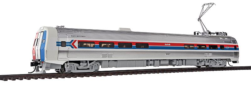 Walthers 920-14800 HO Amtrak Budd Metroliner Electric Multiple Unit #8 This is Walthers 14800 Mtlnr Snk Br DCC AMTK#861. WalthersProto Budd Metroliner Electric Multiple Unit snack bar coach, Tsunami Sound & DCC. Amtrak® #861 (Phase I, wide red & blue stripes). Flashing by at 100+mph, Metroliners symbolized American high-speed rail service for years, serving business travelers on Penn Central and later Amtrak as the fastest scheduled trains in the western hemisphere!Just as the prototypes broke new ground in style and technology, so do our Metroliners! Completely new from roof to rails, we've captured the unique shape of the Coach, Snack Bar Coach and Parlor Car in all-new tooling.Each comes fully assembled with Walthers real metal stainless steel finish complemented by ultra-sharp Amfleet Phase I paint and lettering including factory-printed car numbers. Fine details, from a full underbody to installed grab irons, from prototypically tinted windows to sprung General Electric or Westinghouse pantographs as appropriate, are all included. Powered by the proven technology of WalthersProto locos, each car has its own high torque motor, driving a powered truck with helical gears, and comes in dual mode Tsunami Sound & DCC (sound operates on DC) or Standard DC versions for every layout.Its key features are:Based on equipment in service 1968-1982All-new tooling for 3 prototype car stylesOne helical geared power truck & skew-wound high torque motor in each unitWorking headlight, gyralight, reversing a-end red marker lights, number boards & interior lightingClassic Amfleet Phase I scheme on standard edition carsDetailed, spring-loaded GE or Westinghouse pantographs per prototypeReal metal finish simulates stainless steelCorrect A & B end detailsAll grab irons factory installedFactory-printed road numbersPrototypically accurate window tintingAvailable with factory-installed Tsunami® Sound & DCC (sound operates on DC)Proto MAX™ metal knuckle couplersPLEASE NOTE: As t
