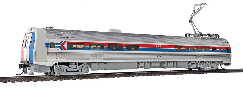 Walthers 920-14801 HO Amtrak Budd Metroliner Electric Multiple Unit #8 This is Walthers 14801 Mtlnr Snk Br DCC AMTK#868. WalthersProto Budd Metroliner Electric Multiple Unit snack bar coach, Tsunami Sound & DCC. Amtrak® #868 (Phase I, wide red & blue stripes). Flashing by at 100+mph, Metroliners symbolized American high-speed rail service for years, serving business travelers on Penn Central and later Amtrak as the fastest scheduled trains in the western hemisphere!Just as the prototypes broke new ground in style and technology, so do our Metroliners! Completely new from roof to rails, we've captured the unique shape of the Coach, Snack Bar Coach and Parlor Car in all-new tooling.Each comes fully assembled with Walthers real metal stainless steel finish complemented by ultra-sharp Amfleet Phase I paint and lettering including factory-printed car numbers. Fine details, from a full underbody to installed grab irons, from prototypically tinted windows to sprung General Electric or Westinghouse pantographs as appropriate, are all included. Powered by the proven technology of WalthersProto locos, each car has its own high torque motor, driving a powered truck with helical gears, and comes in dual mode Tsunami Sound & DCC (sound operates on DC) or Standard DC versions for every layout.Its key features are:Based on equipment in service 1968-1982All-new tooling for 3 prototype car stylesOne helical geared power truck & skew-wound high torque motor in each unitWorking headlight, gyralight, reversing a-end red marker lights, number boards & interior lightingClassic Amfleet Phase I scheme on standard edition carsDetailed, spring-loaded GE or Westinghouse pantographs per prototypeReal metal finish simulates stainless steelCorrect A & B end detailsAll grab irons factory installedFactory-printed road numbersPrototypically accurate window tintingAvailable with factory-installed Tsunami® Sound & DCC (sound operates on DC)Proto MAX™ metal knuckle couplersPLEASE NOTE: As t