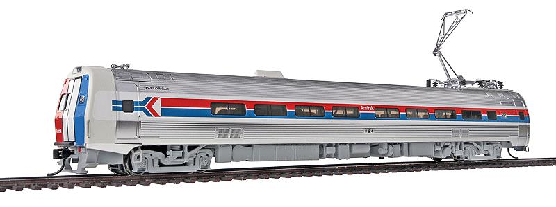 Walthers 920-14820 HO Amtrak Budd Metroliner Electric Multiple Unit (E This is Walthers 14820 Mtlnr Parlor DCC AMTK#884. WalthersProto Budd Metroliner Electric Multiple Unit (EMU) parlor car, Tsunami Sound & DCC. Amtrak® #884 (Phase I, wide red & blue stripes). Flashing by at 100+mph, Metroliners symbolized American high-speed rail service for years, serving business travelers on Penn Central and later Amtrak as the fastest scheduled trains in the western hemisphere!Just as the prototypes broke new ground in style and technology, so do our Metroliners! Completely new from roof to rails, we've captured the unique shape of the Coach, Snack Bar Coach and Parlor Car in all-new tooling.Each comes fully assembled with Walthers real metal stainless steel finish complemented by ultra-sharp Amfleet Phase I paint and lettering including factory-printed car numbers. Fine details, from a full underbody to installed grab irons, from prototypically tinted windows to sprung General Electric or Westinghouse pantographs as appropriate, are all included. Powered by the proven technology of WalthersProto locos, each car has its own high torque motor, driving a powered truck with helical gears, and comes in dual mode Tsunami Sound & DCC (sound operates on DC) or Standard DC versions for every layout.Its key features are:Based on equipment in service 1968-1982All-new tooling for 3 prototype car stylesOne helical geared power truck & skew-wound high torque motor in each unitWorking headlight, gyralight, reversing a-end red marker lights, number boards & interior lightingClassic Amfleet Phase I scheme on standard edition carsDetailed, spring-loaded GE or Westinghouse pantographs per prototypeReal metal finish simulates stainless steelCorrect A & B end detailsAll grab irons factory installedFactory-printed road numbersPrototypically accurate window tintingAvailable with factory-installed Tsunami® Sound & DCC (sound operates on DC)Proto MAX™ metal knuckle couplersPLEASE NOTE: As