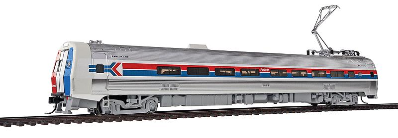 Walthers 920-14821 HO Amtrak Budd Metroliner Electric Multiple Unit (E This is Walthers 14821 Mtlnr Parlor DCC AMTK#889. WalthersProto Budd Metroliner Electric Multiple Unit (EMU) parlor car, Tsunami Sound & DCC. Amtrak® #889 (Phase I, wide red & blue stripes). Flashing by at 100+mph, Metroliners symbolized American high-speed rail service for years, serving business travelers on Penn Central and later Amtrak as the fastest scheduled trains in the western hemisphere!Just as the prototypes broke new ground in style and technology, so do our Metroliners! Completely new from roof to rails, we've captured the unique shape of the Coach, Snack Bar Coach and Parlor Car in all-new tooling.Each comes fully assembled with Walthers real metal stainless steel finish complemented by ultra-sharp Amfleet Phase I paint and lettering including factory-printed car numbers. Fine details, from a full underbody to installed grab irons, from prototypically tinted windows to sprung General Electric or Westinghouse pantographs as appropriate, are all included. Powered by the proven technology of WalthersProto locos, each car has its own high torque motor, driving a powered truck with helical gears, and comes in dual mode Tsunami Sound & DCC (sound operates on DC) or Standard DC versions for every layout.Its key features are:Based on equipment in service 1968-1982All-new tooling for 3 prototype car stylesOne helical geared power truck & skew-wound high torque motor in each unitWorking headlight, gyralight, reversing a-end red marker lights, number boards & interior lightingClassic Amfleet Phase I scheme on standard edition carsDetailed, spring-loaded GE or Westinghouse pantographs per prototypeReal metal finish simulates stainless steelCorrect A & B end detailsAll grab irons factory installedFactory-printed road numbersPrototypically accurate window tintingAvailable with factory-installed Tsunami® Sound & DCC (sound operates on DC)Proto MAX™ metal knuckle couplersPLEASE NOTE: As