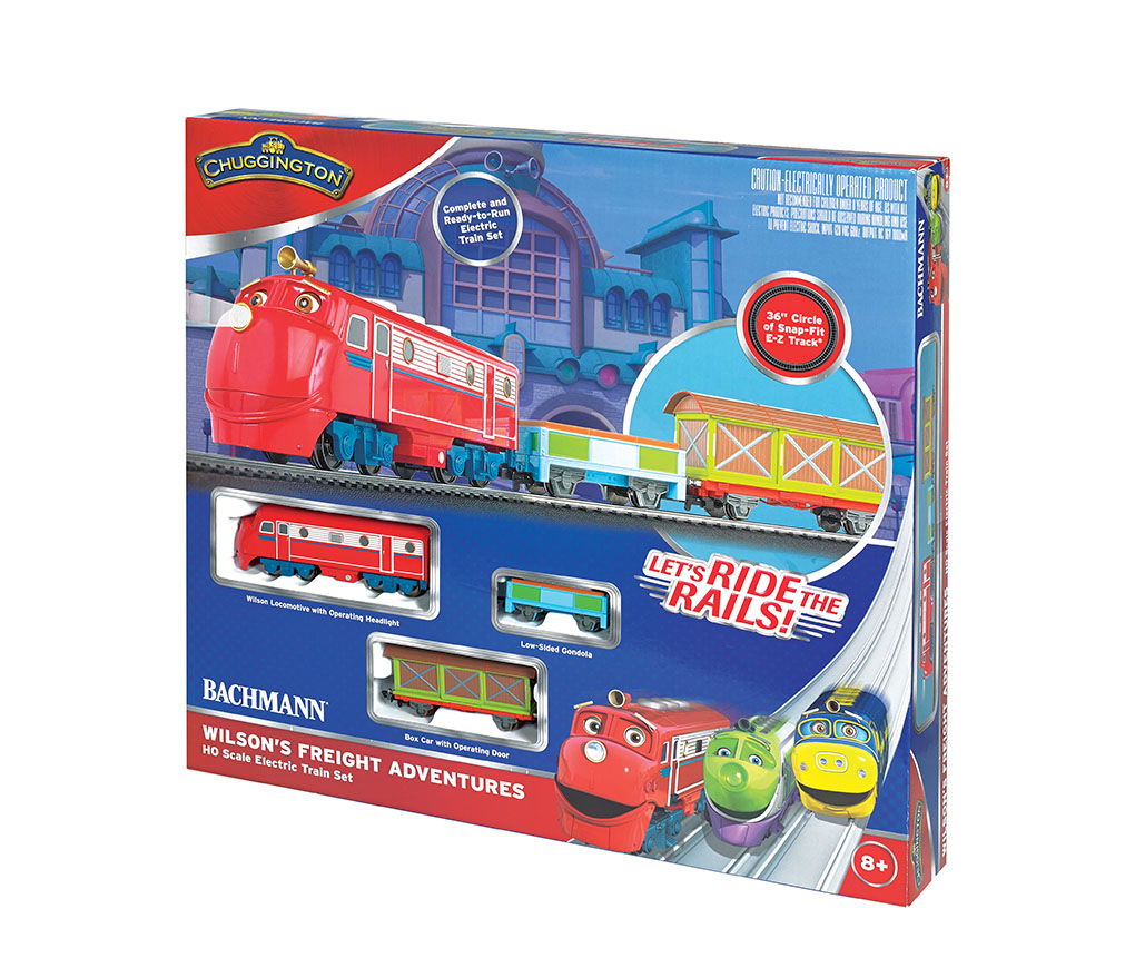 Bachmann 00770 HO Chuggington Wilson's Freight Adventures Train Set This is Bachmann 00770 HO Chuggington/Wilson's Freight Adventures. It's training time with Wilson! He is eager to get on track for a speedy delivery with Wilson's Freight Adventures. Join him on an exciting journey as one of Chuggington's favorite trainees supplies carloads of fun to young engineers. Its key features are: Operating headlight on locomotive Boxcar with operating door International-style hook and loop couplers Speed controller with plug-in wiring, power indicator light and directional switch Illustrated instruction manual Set includes: Wilson locomotive with operating headlight Low-sided gondola Box car 36 circle of snap-fit E-Z Track® with 11 pieces of curved track and 1 curved plug-in terminal rerailer Power pack and speed controller Illustrated instruction manualCondition: Factory New (C-9All original; unused; factory rubs and evidence of handling, shipping and factory test run.Standards for all toy train related accessory items apply to the visual appearance of the item and do not consider the operating functionality of the equipment.Condition and Grading Standards are subjective, at best, and are intended to act as a guide. )Operational Status: FunctionalThis item is brand new from the factory.Original Box: Yes (P-9May have store stamps and price tags. Has inner liners.)Manufacturer: BachmannModel Number: 00770Road Name: ChuggingtonMSRP: $225.00Scale/Era: HO ModernModel Type: Sets ScaleAvailability: Ships in 3 to 5 Business Days.The Trainz SKU for this item is P11725357. Track: 11725357 - FS - 001 - TrainzAuctionGroup00UNK - TDIDUNK
