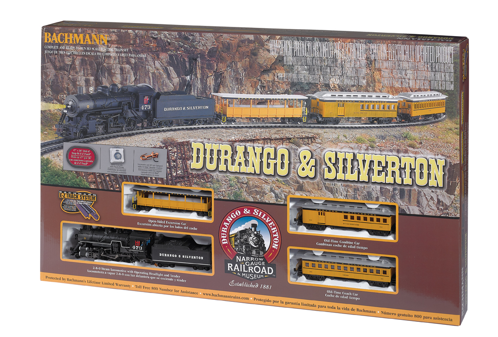 Bachmann 710 HO Durango & Silverton Train Set This is Bachmann 710 HO Durango & Silverton Train Set. Built originally as a mining line, the scenic value of the Durango & Silverton was quickly recognized in passenger service. After surviving natural disasters, wars, and financial instability, a determined staff (and starring roles in several Hollywood movies) promoted the tourism that ensures the line's survival to this day. Now recognized as a National Historic Landmark and a National Historic Civil Engineering Landmark, the Durango & Silverton continues to provide year-round tourist service. Our Durango & Silverton passenger set comes complete with:DCC-ready 2-8-0 locomotive and tender with operating headlightFactory-installed 8-pin socket ready for DCC decoder installation of your choiceOpen excursion carOld-time combineOld-time coach473 x 383 oval of snap-fit E-Z Track® including 12 pieces of curved track, 1 piece of straight track, and 1 curved plug-in terminal rerailerPower pack and speed controllerIllustrated instruction manualCondition: Factory New (C-9All original; unused; factory rubs and evidence of handling, shipping and factory test run.Standards for all toy train related accessory items apply to the visual appearance of the item and do not consider the operating functionality of the equipment.Condition and Grading Standards are subjective, at best, and are intended to act as a guide. )Operational Status: FunctionalThis item is brand new from the factory.Original Box: Yes (P-9May have store stamps and price tags. Has inner liners.)Manufacturer: BachmannModel Number: 710MSRP: $309.00Scale/Era: HO ModernModel Type: Sets ScaleAvailability: Ships in 1 Business Day!The Trainz SKU for this item is P11998578. Track: 11998578 - No Location Assigned - 001 - TrainzAuctionGroup00UNK - TDIDUNK