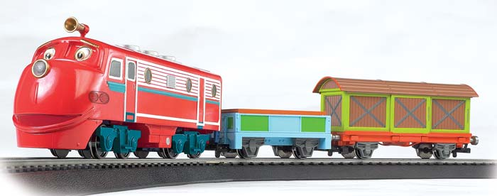 Bachmann 770 Wilson's Frt Adventures This is Bachmann 770 Wilson's Frt Adventures. Chuggington/Wilson's Freight Adventures. It s training time with Wilson! He is eager to get on track for a speedy delivery with Wilson s Freight Adventures. Join him on an exciting journey as one of Chuggington s favorite trainees supplies carloads of fun to young engineers.Its key features are:Operating headlight on locomotiveBoxcar with operating doorInternational-style hook and loop couplersSpeed controller with plug-in wiring, power indicator light and directional switchIllustrated instruction manualSet includes:Wilson locomotive with operating headlight Low-sided gondolaBox car36 circle of snap-fit E-Z Track® with 11 pieces of curved track and 1 curved plug-in terminal rerailerPower pack and speed controllerIllustrated instruction manualCondition: Factory New (C-9All original; unused; factory rubs and evidence of handling, shipping and factory test run.Standards for all toy train related accessory items apply to the visual appearance of the item and do not consider the operating functionality of the equipment.Condition and Grading Standards are subjective, at best, and are intended to act as a guide. )Operational Status: FunctionalThis item is brand new from the factory.Original Box: Yes (P-9May have store stamps and price tags. Has inner liners.)Manufacturer: BachmannModel Number: 770MSRP: $225.00Scale/Era: HO ModernModel Type: Sets ScaleAvailability: Ships in 1 Business Day!The Trainz SKU for this item is P11979763. Track: 11979763 - No Location Assigned - 001 - TrainzAuctionGroup00UNK - TDIDUNK