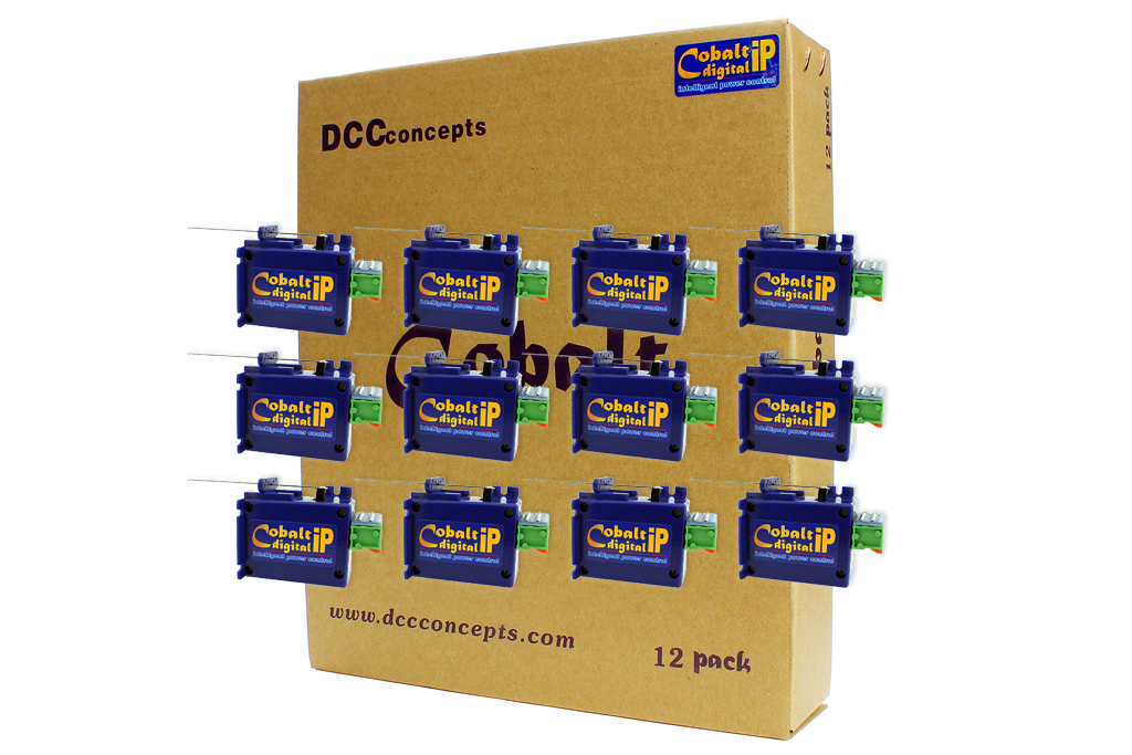 """DCC Concepts CB12DIP COBALT ip Digital Turnout Motors (12) This is DCC Concepts CB12DIP Cobalt IP Digital (12). With Cobalt-iP Digital, you can have your cake and eat it too, because it is 100% ready to go in digital format, yet it will also allow you to have a classic control panel with a choice of either one or two push-button switches per turnout… Super low current draw means you can use complex pre-set routes using the abilities already built in to most quality DCC control systems with no need to add anything else! While Cobalt-iP Digital may look the same on the outside, we have added so much more than you can see. It has a totally new and even quieter internal gearing structure, re-designed internal electronics to add actively managed drive speed and at the same time, we've added our all new microprocessor-controlled """"intelligent power"""" electronics to make Cobalt-iP Digital perform better than any point motor you have ever seen. Being aware that not all power supply situations are the same, we have also made drive voltage almost irrelevant because Cobalt-iP Digital has a huge """"safe power range… so it is totally comfortable with a very, very wide range of track bus or accessory power voltages. So… apart from intelligent control, smooth operation, insanely long life and the hobby's best backup and warranty, plus incredibly easy solder-free installation, smooth operation and exceptional usability, what's new in Cobalt-iP? Cobalt-iP Digital is even easier to add to your layout as it is already pre-centered and ready to install. All Cobalt-iP leave the factory pre-centered. Whatever voltage or power source you choose, it's OK! Cobalt-iP Digital has a really wide-ranging safe Power input – Whether you model Z, N, TT, OO/HO, O, G or anything in between, Cobalt-iP Digital is always happy. Acceptable power bus voltage range is 7~23v, AC, DC or DCC! Cobalt-iP Digital has TW"""