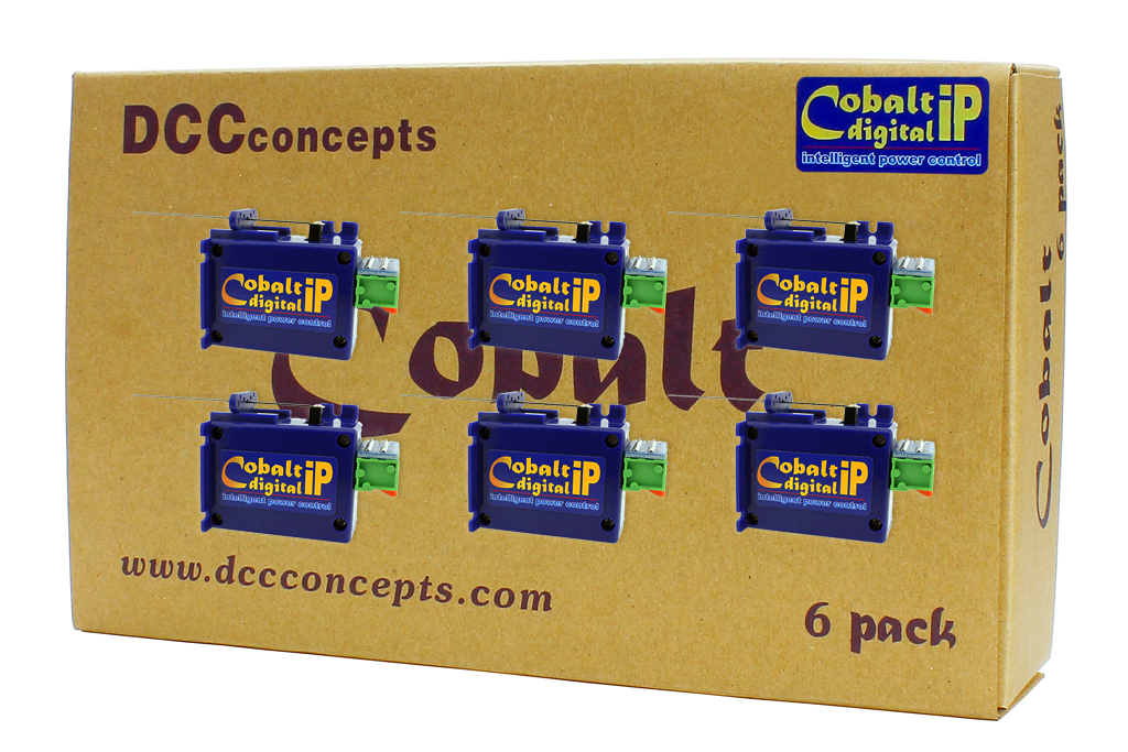 """DCC Concepts CB6DIP COBALT ip Digital Turnout Motors (6) This is DCC Concepts CB6DIP Cobalt IP Digital (6). Introducing Cobalt-iP Digital – Cobalt-iP Digital is a new Cobalt DCC-on board product that adds on-board DCC control to the very best features of Cobalt Classic-? and Cobalt -iP to create the best ever digital-ready point motor. With Cobalt-iP Digital, you can have your cake and eat it too, because it is 100% ready to go in digital format, yet it will also allow you to have a classic control panel with a choice of either one or two push-button switches per turnout… Super low current draw means you can use complex pre-set routes using the abilities already built in to most quality DCC control systems with no need to add anything else! While Cobalt-iP Digital may look the same on the outside, we have added so much more than you can see. It has a totally new and even quieter internal gearing structure, re-designed internal electronics to add actively managed drive speed and at the same time, we've added our all new microprocessor-controlled """"intelligent power"""" electronics to make Cobalt-iP Digital perform better than any point motor you have ever seen. Being aware that not all power supply situations are the same, we have also made drive voltage almost irrelevant because Cobalt-iP Digital has a huge """"safe power range… so it is totally comfortable with a very, very wide range of track bus or accessory power voltages. So… apart from intelligent control, smooth operation, insanely long life and the hobby's best backup and warranty, plus incredibly easy solder-free installation, smooth operation and exceptional usability, what's new in Cobalt-iP? Cobalt-iP Digital is even easier to add to your layout as it is already pre-centered and ready to install. All Cobalt-iP leave the factory pre-centered. Whatever voltage or power source you choose, it's OK! Cobalt-iP Digital has a really wide-ranging safe P"""