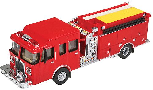 Walthers 949-13800 HO Heavy-Duty Fire Engine - Assembled This is a Walthers 949-13800 HO Red Heavy-Duty Fire Engine. Water supply can be critical for big city blazes, and when multiple alarms are struck, the fire dpartment sends in the big guns like this heavy-duty pumper, equipped to deliver water where and when it's needed most. Each SceneMaster vehicle is a highly detailed replica, using diecast and plastic as appropriate to create a model worthy of your layout. On some models, moving parts can be positioned so you can display the truck in realistic work situations.Condition: Factory New (C-9All original; unused; factory rubs and evidence of handling, shipping and factory test run.Standards for all toy train related accessory items apply to the visual appearance of the item and do not consider the operating functionality of the equipment.Condition and Grading Standards are subjective, at best, and are intended to act as a guide. )Operational Status: FunctionalThis item is brand new from the factory.Original Box: Yes (P-9May have store stamps and price tags. Has inner liners.)Manufacturer: WalthersModel Number: 949-13800MSRP: $14.98Scale/Era: HO ModernModel Type: VehiclesAvailability: Ships in 3 to 5 Business Days.The Trainz SKU for this item is P11973030. Track: 11973030 - FS - 001 - TrainzAuctionGroup00UNK - TDIDUNK