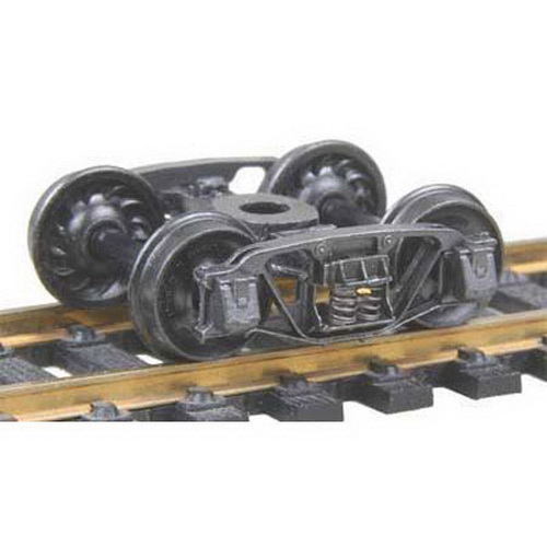 Kadee 553 HO 1898 Andrews Fully Sprung Self-Centering Metal Trucks Cod This is a Kadee 553 HO Scale 1898 Andrews Fully Sprung Self-Centering Metal Trucks Code 110 (.110) 33Ó Ribbed-Back RP-25 Wheels 1 Pair.The Andrews truck is also a turn of the century design that was long lived. It represents one of the first steps in the development of the modern freight truck with its cast frame. The journal boxes are bolted to the main frame. This truck was used through the end of the 1950's although by that time was only used in lighter applications such as refrigerator cars. Andrews trucks are probably still used were logging railroads remain in operation. These trucks feature: 33 ribbed back wheels, Accurate markings, Incredible detail True to prototype, Non-magnetic Metal wheels, Highly Flexable sprung trucks, Metal SideFrames & Fully Sprung Bolster, Smooth tracking Free rolling Contoured Insulated axles, and RP-25 Free rolling wheels. The Patent number is 5,768,99.Condition: Factory New (C-9All original; unused; factory rubs and evidence of handling, shipping and factory test run.Standards for all toy train related accessory items apply to the visual appearance of the item and do not consider the operating functionality of the equipment.Condition and Grading Standards are subjective, at best, and are intended to act as a guide. )Operational Status: FunctionalThis item is brand new from the factory.Original Box: Yes (P-9May have store stamps and price tags. Has inner liners.)Manufacturer: KadeeModel Number: 553MSRP: $8.00Scale/Era: HO ModernModel Type: Wheels, Trucks, CouplersAvailability: Ships in 3 to 5 Business Days.The Trainz SKU for this item is P11490059. Track: 11490059 - FS - 001 - TrainzAuctionGroup00UNK - TDIDUNK