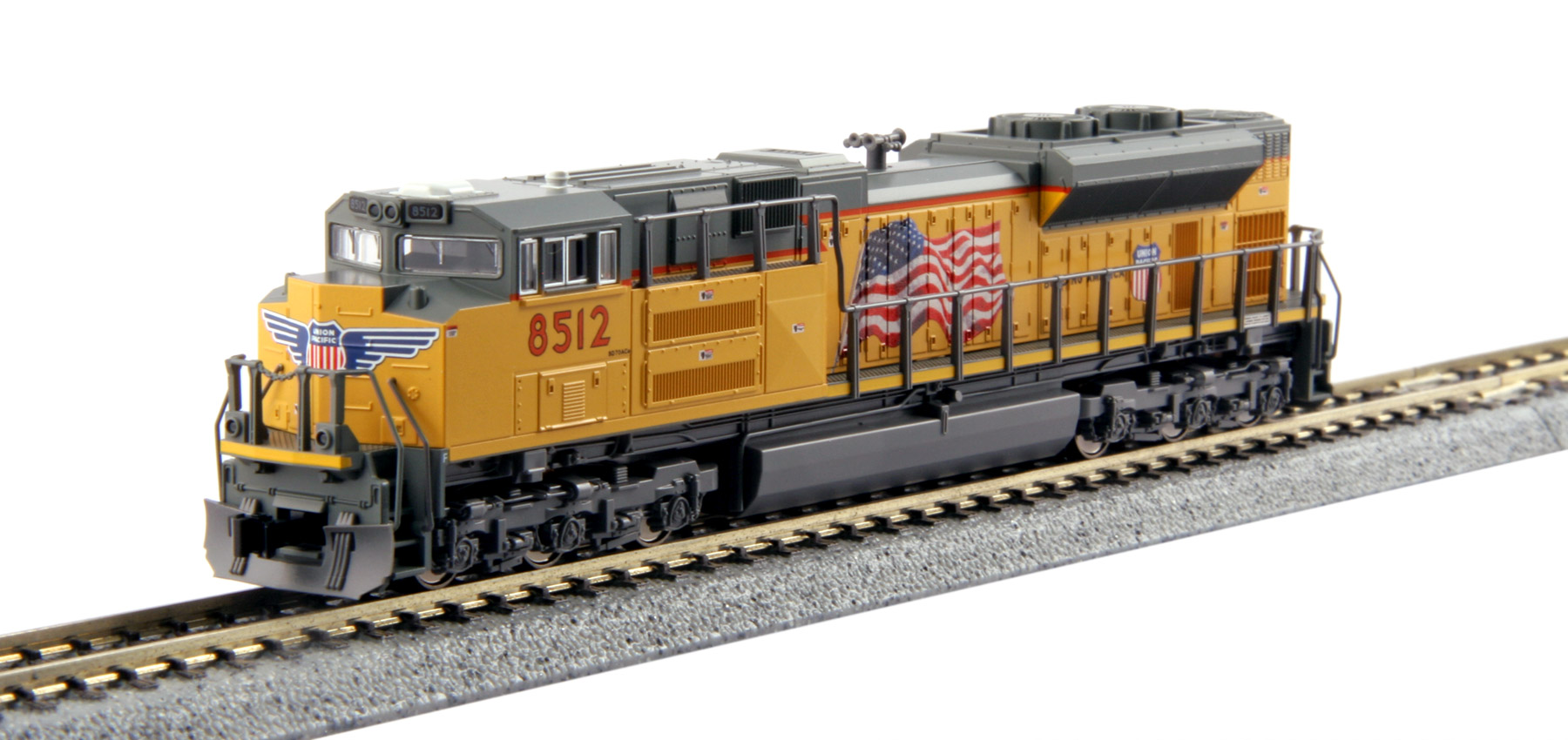 Kato 176-8433 N Union Pacific EMD SD70ACe #8512 This is a Kato 176-8433 N Scale Union Pacific EMD SD70ACe #8512. The SD70ACe is the latest in the line of EMD's 70 locomotives, an evolution of the SD70MAC, although its radiator design harkens more to that of the SD80/90 body. The SD70ACe has been designed to fit the latest EPA standards and regulations, and sports 4300 horsepower. The Union Pacific is one of the largest original buyers of EMD's new ACe units, and continues to add more to their roster. Model Features: Powerful Kato mechanism powered by a 5-pole flywheel motor and featuring a 9 3/4 minimum turning radius. Directional Headlight and illuminated, preprinted numberboards. Illuminated ditch lights. DCC Friendly mechanism ready for drop-in decoder installation.Condition: Factory New (C-9All original; unused; factory rubs and evidence of handling, shipping and factory test run.Standards for all toy train related accessory items apply to the visual appearance of the item and do not consider the operating functionality of the equipment.Condition and Grading Standards are subjective, at best, and are intended to act as a guide. )Operational Status: FunctionalThis item is brand new from the factory.Original Box: Yes (P-9May have store stamps and price tags. Has inner liners.)Manufacturer: KatoModel Number: 176-8433Road Name: Union PacificMSRP: $130.00Scale/Era: N ScaleModel Type: Diesel LocoAvailability: Ships in 2 Business Days!The Trainz SKU for this item is P12170799. Track: 12170799 - No Location Assigned - 001 - TrainzAuctionGroup00UNK - TDIDUNK