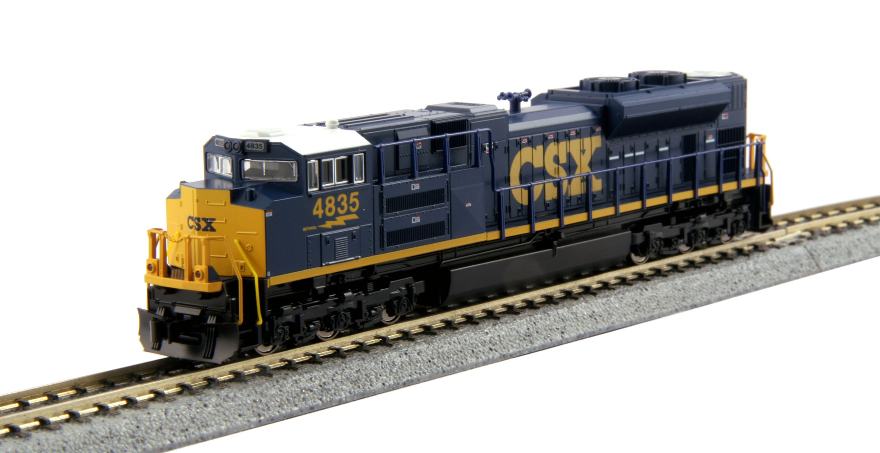 Kato 176-8436 N CSX EMD SD70ACe #4835 This is a Kato 176-8436 N Scale CSX EMD SD70ACe #4835. The SD70ACe is the latest in the line of EMD's 70 locomotives, an evolution of the SD70MAC, although its radiator design harkens more to that of the SD80/90 body. The SD70ACe has been designed to fit the latest EPA standards and regulations, and sports 4300 horsepower. The CSX Railroad has added 20 SD70ACe's to its rosters as of 2005, using them in service along the East coast from Florida all the way up into Quebec and Ontario. Model Features: Powerful Kato mechanism powered by a 5-pole flywheel motor and featuring a 9 3/4 minimum turning radius.Directional Headlight and illuminated, preprinted numberboards. Illuminated ditch lights.DCC Friendly mechanism ready for drop-in decoder installation.Condition: Factory New (C-9All original; unused; factory rubs and evidence of handling, shipping and factory test run.Standards for all toy train related accessory items apply to the visual appearance of the item and do not consider the operating functionality of the equipment.Condition and Grading Standards are subjective, at best, and are intended to act as a guide. )Operational Status: FunctionalThis item is brand new from the factory.Original Box: Yes (P-9May have store stamps and price tags. Has inner liners.)Manufacturer: KatoModel Number: 176-8436Road Name: CSXMSRP: $130.00Scale/Era: N ScaleModel Type: Diesel LocoAvailability: Ships in 1 Business Day!The Trainz SKU for this item is P12170802. Track: 12170802 - No Location Assigned - 001 - TrainzAuctionGroup00UNK - TDIDUNK