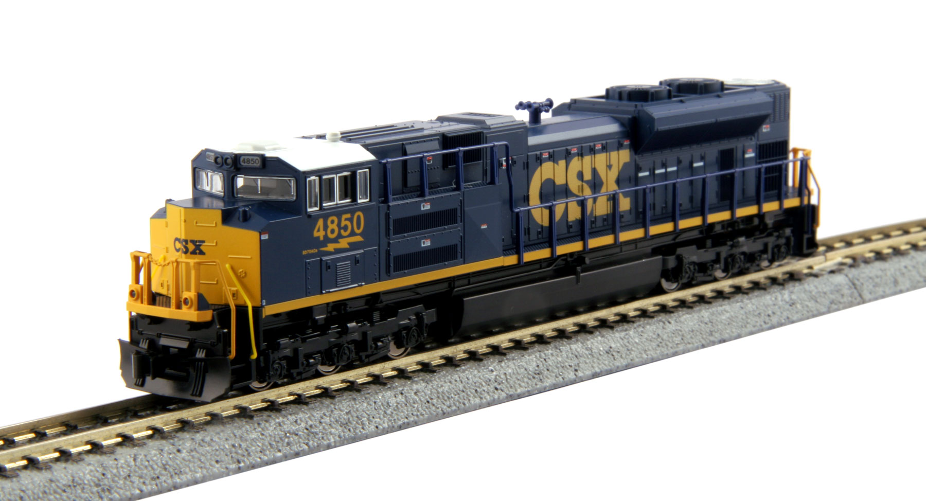 Kato 176-8437 N CSX EMD SD70ACe #4850 This is a Kato 176-8437 N Scale CSX EMD SD70ACe #4850. The SD70ACe is the latest in the line of EMD's 70 locomotives, an evolution of the SD70MAC, although its radiator design harkens more to that of the SD80/90 body. The SD70ACe has been designed to fit the latest EPA standards and regulations, and sports 4300 horsepower. The CSX Railroad has added 20 SD70ACe's to its rosters as of 2005, using them in service along the East coast from Florida all the way up into Quebec and Ontario. Model Features: Powerful Kato mechanism powered by a 5-pole flywheel motor and featuring a 9 3/4 minimum turning radius.Directional Headlight and illuminated, preprinted numberboards. Illuminated ditch lights.DCC Friendly mechanism ready for drop-in decoder installation.Condition: Factory New (C-9All original; unused; factory rubs and evidence of handling, shipping and factory test run.Standards for all toy train related accessory items apply to the visual appearance of the item and do not consider the operating functionality of the equipment.Condition and Grading Standards are subjective, at best, and are intended to act as a guide. )Operational Status: FunctionalThis item is brand new from the factory.Original Box: Yes (P-9May have store stamps and price tags. Has inner liners.)Manufacturer: KatoModel Number: 176-8437Road Name: CSXMSRP: $130.00Scale/Era: N ScaleModel Type: Diesel LocoAvailability: Ships in 2 Business Days!The Trainz SKU for this item is P12170803. Track: 12170803 - No Location Assigned - 001 - TrainzAuctionGroup00UNK - TDIDUNK