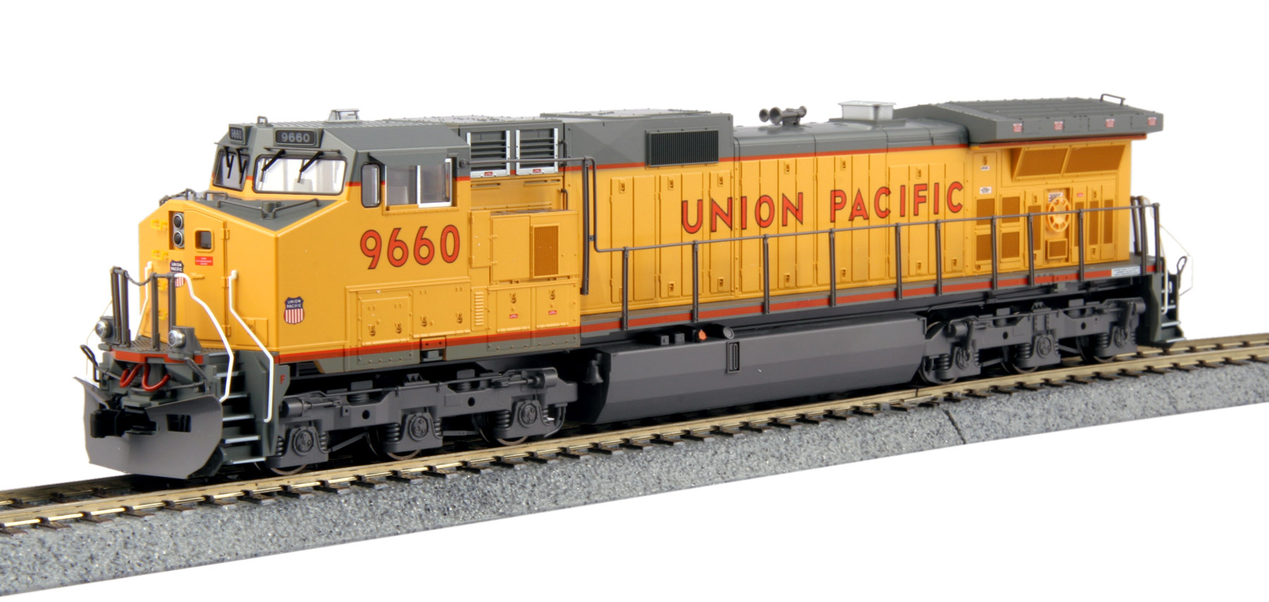 Kato 37-6633LS HO GE C44-9W Union Pacific with DCC/Sound #9660 This is a Kato 37-6633LS HO Scale GE C44-9W Union Pacific with ESU Loksound DCC/Sound #9660. Model Features: Great for pulling our Gunderson MAXI-IV double stack well cars,Precisely engineered weight distribution for more pulling power on steep grades and long trains,Lighted ditch lights in the high mount position for SP and UP (ex-SP) units,Prototypical Late Hi-Adhesion trucksa and DCC and Sound friendly construction with a speaker housing in the fuel tank and standard 8 pin DCC plug.Condition: Factory New (C-9All original; unused; factory rubs and evidence of handling, shipping and factory test run.Standards for all toy train related accessory items apply to the visual appearance of the item and do not consider the operating functionality of the equipment.Condition and Grading Standards are subjective, at best, and are intended to act as a guide. )Operational Status: FunctionalThis item is brand new from the factory.Original Box: Yes (P-9May have store stamps and price tags. Has inner liners.)Manufacturer: KatoModel Number: 376633LSMSRP: $295.00Scale/Era: HO ModernModel Type: Diesel LocoAvailability: Ships in 1 Business Day!The Trainz SKU for this item is P12174104. Track: 12174104 - No Location Assigned - 001 - TrainzAuctionGroup00UNK - TDIDUNK