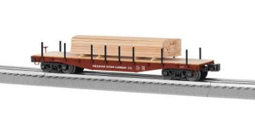 Lionel 6-82852 O Meadow River Lumber 40' Flatcar with Lumber Load This is a Lionel 682852 O Meadow River Lumber 40' Flatcar with Lumber Load. This features Die-cast construction for reliable operation loaded or empty, New ribbed back wheels, Realistic molded log load included, Easy conversion to scale couplers, and Tie down chains included.Condition: Factory New (C-9All original; unused; factory rubs and evidence of handling, shipping and factory test run.Standards for all toy train related accessory items apply to the visual appearance of the item and do not consider the operating functionality of the equipment.Condition and Grading Standards are subjective, at best, and are intended to act as a guide. )Operational Status: FunctionalThis item is brand new from the factory.Original Box: Yes (P-9May have store stamps and price tags. Has inner liners.)Manufacturer: LionelModel Number: 6-82852MSRP: $89.99Scale/Era: O ModernModel Type: Freight CarsAvailability: Ships in 2 Business Days!The Trainz SKU for this item is P12159775. Track: 12159775 - No Location Assigned - 001 - TrainzAuctionGroup00UNK - TDIDUNK