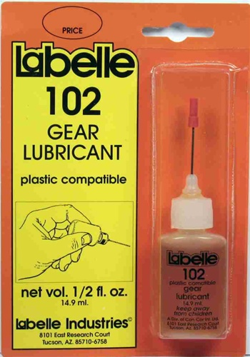 LaBelle 102 Plastic Compact Gear Lube This is Labelle 102 Gear Lubricant. Plastic compatible gear lubricant. An extremely versatile gear lubricant and has an unlimited number of heavy duty uses for home, office, or labratory, such as:Model Trains: Exposed gear boxes (all scales)RC Models. Exposed gear boxes on all RC models of all sizes and type. Shock absorbersSlot Cars: Exposed gear boxes on slot cars of all sizesBicycles: Exposed cable rub points, gearsFishing reel mechanismsOther uses: Exposed gear boxes on all sorts of household items, squeaky door hinges, riding toys, musical instrument keys, mechanical toys of all types.Net volume 1/2 fl.oz (149ml)Condition: Factory NewOperational Status: FunctionalThis item is brand new from the factory.Original Box: YesManufacturer: LaBelleModel Number: 102MSRP: $9.69Category 1: Maintenance & SuppliesCategory 2: LubricantsAvailability: Ships within 3 Business Days!The Trainz SKU for this item is P11493037. Track: 11493037 - 4010-D (Suite 2730-100)  - 001 - TrainzAuctionGroup00UNK - TDIDUNK