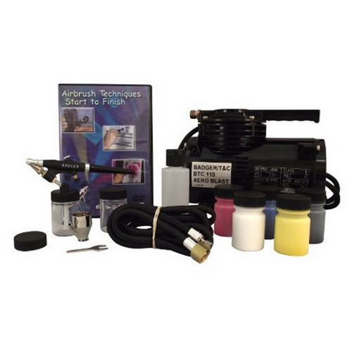 Badger 314SSWC 350 Airbrush Starter Set w/ BTC-110 Compressor Badger Air-Brush Co. 314-HSWC Hobby Starter System is ideal for the new hobbyist venturing into airbrushing for the first time. The Model 350 airbrush is an excellent choice for beginning hobbyists. This system features a Model 350-M airbrush, an external mix, single action airbrush. The 350 is superb for base coating, stenciling, stippling, touch up projects, etc. This model sprays high viscosity materials such as ceramic glazes and stains, and hobby enamels with ease. It is also effectively used with properly reduced acrylics, inks, dyes, watercolors, acrylic, lacquers, enamels, Air-Opaque, Air-Tex, Spectra Tex, and MODELflex airbrush colors. System contains a Model 350-M airbrush, BTC-110 Compressor, 6 foot braided air hose, 2- 3/4-Ounce glass jars and 1 Fast Blast jar adapter cap, ? ounce color cup, 5 -1-Ounce airbrush ready acrylic colors (Engine Black, Reefer White, Primer Grey, Signal Red, Rail Brown) 1 - 2-Ounce airbrush cleaner and 1- Airbrush Techniques Start to Finish DVD, and Instruction Manual. Proudly made in the USA.Condition: Factory NewOperational Status: FunctionalThis item is brand new from the factory.Original Box: YesManufacturer: BadgerModel Number: 314SSWCMSRP: $283.00Category 1: Maintenance & SuppliesCategory 2: OtherAvailability: Ships in 1 Business Day!The Trainz SKU for this item is P11633176. Track: 11633176 - No Location Assigned - 001 - TrainzAuctionGroup00UNK - TDIDUNK