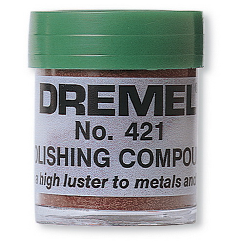 Dremel 421 Polishing compound This is Dremel 421 Polishing compound. Dremel polishing compound is used to remove dull oxidized film and light imperfections on metals and plastics. This hard compound is applied with cloth or felt polishing accessories and nylon bristle brushes. Use with felt or cloth accessory bits to polish metals and plastics. This solid compound will remove dull, oxidized film and/or light surface imperfections.Key Features:Ideal for polishing or brightening most metals and plastics.Also use polishing compound to remove light surface imperfections.Specifications:* COLOR CODE: Yellow* DESCRIPTION: Polishing CompoundCondition: Factory NewOperational Status: FunctionalThis item is brand new from the factory.Original Box: YesManufacturer: DremelModel Number: 421MSRP: $3.27Category 1: Maintenance & SuppliesCategory 2: OtherAvailability: Ships in 3 to 5 Business Days.The Trainz SKU for this item is P11476718. Track: 11476718 - FS - 001 - TrainzAuctionGroup00UNK - TDIDUNK