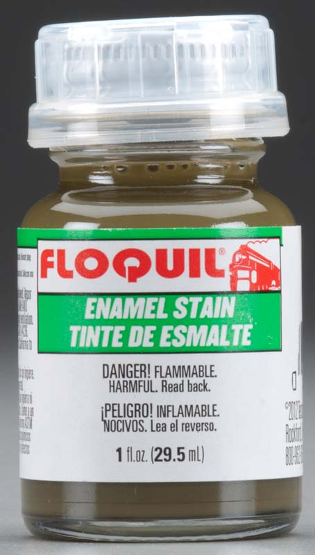 Floquil 110654 Green Enamel Stain This is Floquil 110654 Green Stain. Enamel stain, 1oz (29.5ml).Its key features are:Flammable and toxicApply stain with a fine brush around detail, seams, recessed and standing detail or apply evenly over entire surfaceStain will naturally concentrate in corners and pull up flat surfacesLet dry for 15 minutes, remove excess with thinner using either moistened cloth or fine brushLeave 24 hours for full cureSeal with clear coatThin paint 3 parts paint to 2 parts thinnerAdjust compressor to 20-25 PSIFor Aztek Airbrushes use high flow nozzles, Red #9342C, Orange #9343C, or Yellow #9344COther brand airbrushes use a #3 needleCondition: Factory NewOperational Status: FunctionalThis item is brand new from the factory.Original Box: YesManufacturer: FloquilModel Number: 110654MSRP: $5.45Category 1: Maintenance & SuppliesCategory 2: OtherAvailability: Ships in 3 to 5 Business Days.The Trainz SKU for this item is P11823617. Track: 11823617 - FS - 001 - TrainzAuctionGroup00UNK - TDIDUNK