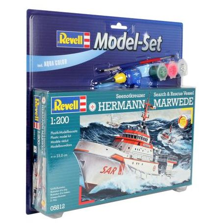 Revell of Germany 80-5812 1:200 Hermann Marwede Rescue Ship This is a Revell of Germany 80-5812 1:200 Hermann Marwede Rescue Ship. Hermann Marwede is one of the most modern ships of this type in the world. It is the largest Ocean-going rescue ship ever to enter service in Germany. The ship was named in the Summer of 2003 and is stationed on the North Sea Island of Helgoland. It has a maximum speed of 25 knots (46.3 km/h, 28.75 mph) and a maximum range of 3926 km (2438 st. miles). Propulsion is provided by three engines with a total power output of 9250 Bhp. The ship has its own small hospital, a crane, an inflatable boat, fire fighting appliances and a Helicopter Landing Platform on-board. The on-board inshore craft can achieve a speed of 18 knots (21 mph) and also operate in shallow waters. Since its formation in 1865, members of the DGzRS (German Lifeboat Institution) have saved over 76000 people from life-threatening situations. The rescue work of the institution is financed completely from charitable donations. This features Detailed two-part hull with Bow Thrusters, Handrails on Deck, Detailed Superstructure, Authentic Radar Mast, Searchlights, 3 Water Cannon, Winch, Helicopter Landing Platform, Crane, Detailed Inshore Craft and Inflatable, and Extensive Decal Set including Identification Markings. Skill Level: 4, Length: 230 mm, and Number of Parts: 78.Condition: Factory NewOperational Status: FunctionalThis item is brand new from the factory.Original Box: YesManufacturer: Revell of GermanyModel Number: 80-5812MSRP: $21.95Category 1: Model KitsCategory 2: 1:100 (and higher scales)Availability: Ships in 3 to 5 Business Days.The Trainz SKU for this item is P12063702. Track: 12063702 - FS - 001 - TrainzAuctionGroup00UNK - TDIDUNK