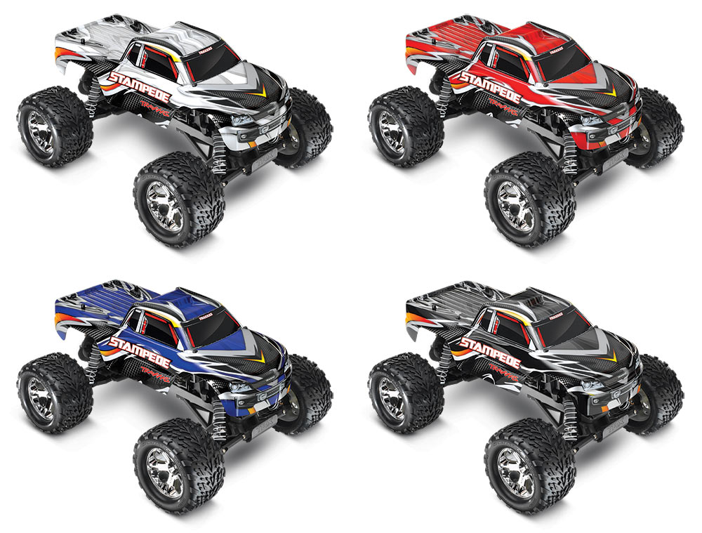 Traxxas 360541 Stampede Monster Truck RTR w/2.4Ghz This is Traxxas 360541 Stampede Monster Truck RTR with 2.4Ghz. The best-selling Stampede was the first high-performance monster truck and it's legendary ruggedness has made the Stampede name synonymous for monster truck driving fun. Today, the Stampede has a bold look, innovative features, and of course, more power to boost the fun quotient even higher. Combine the increased horsepower with the tall, drive-over-anything ground clearance; ultra-tough suspension; exclusive waterproof electronics (blast through puddles, mow through mud and shred snow); and easy operation, Stampede will quickly become your favorite for all kinds of monster truck action. Stampede is still the first name in high-performance monster trucks. Its key features are: 4amp DC Peak Detecting Fast Charger Traxxas 7-cell NiMH battery with iDTM Traxxas TQ 2.4GHz radio system Waterproof electronics permit driving in water, mud and snow Traxxas #6519 3-channel micro receiver Waterproof receiver box High-torque Waterproof Traxxas #2056 steering servo Monstrous 4-inches of ground clearance The included optional 23-tooth pinion gear pushes Stampede to speeds over 30mph* Powerful TitanR 12T 550 modified motor with internal cooling fan High-performance waterproof XL-5? Electronic Speed Control Innovative watersealed design Three Drive Profiles Sport Mode - Forward / Brake / Reverse Race Mode - Forward / Brake Training Mode? - 50% Forward / Brake / 50% Reverse (patented) 12-Turn motor limit for 550 size motors 15-Turn motor limit for 540 size motors Integrated on/off switch Traxxas EZ-SetR one-button setup LiPo, NiCad, and NiMH compatible with two-stage low-voltage detection High-efficiency MOSFET transistors Speed control and receiver are securely screwed to the chassis Efficient Magnum 272? three-gear transmission with ball bearings Sealed gearbox protects the transmission with beefed up motor guard for extra protection RevoR-spec Torque-Control? slipper 