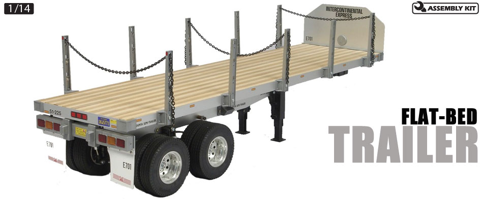 Tamiya 56306 1/14 Semi Flatbed Trailer Kit This highly realistic 1/14 scale flatbead semi-trailer model is for use in combination with Tamiya's 1/14 R/C tractor truck. A scale appearance is achieved by using authentic components such as aluminum chassis/frame, wood-floored platform and actual chains.Condition: Factory NewOperational Status: FunctionalThis item is brand new from the factory.Original Box: YesManufacturer: TamiyaModel Number: 56306MSRP: $329.00Category 1: Model KitsCategory 2: 1:12 (and smaller scales)Availability: Ships in 1 Business Day!The Trainz SKU for this item is P12113517. Track: 12113517 - No Location Assigned - 001 - TrainzAuctionGroup00UNK - TDIDUNK