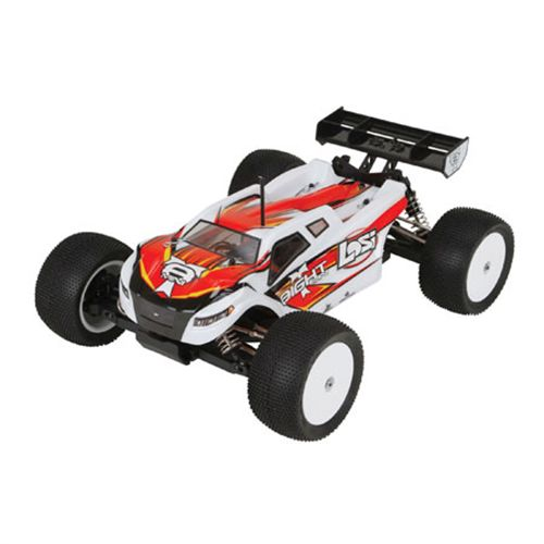 Losi 01000 Mini 8IGHT-T RTR, AVC: 1/14 4WD Truggy This is Losi 01000 Mini 8IGHT-T RTR, AVC: 1/14 4WD Truggy. The Losi® Mini 8IGHT-T™ enhances the Mini 8IGHT™ platform with upgraded electronics and a durable design. With AVC (Active Vehicle Control) technology included, drivers can take full advantage of potent brushless power and 4WD capabilities.Based on the ROAR-Championship-winning 8IGHT™ buggy, this brushless power 4WD prodigy takes the mini 8IGHT platform to all new extremes. You'll be hard-pressed to find another 1/14-scale truggy on the market with the same enhanced power and impressive electronics that are packed into the Losi® MINI 8IGHT-T™. With its aluminum chassis, 4WD shaft-driven drivetrain and durable build, this relentless 1/14-scale truggy can thrash across dirt, gravel and asphalt without skipping a beat. To better manage the outrageous power of its brushless power system, the mini 8IGHT utilizes the AVC (Active Vehicle Control) technology system for advanced power management over its impressive 4500KV brushless engine and precision handling. Better still, the Mini 8IGHT-T comes equipped with absolutely everything you need to get started so you can be out experiencing Losi thrills in the time it takes to charge the battery. Experience the thrill of driving the Mini 8IGHT-T today.Its key features are:LiPo-compatible brushless ESC4500KV brushless motorAVC enhanced SRS4210 receiver with 2.4GHz DSM® technology7.2V 1100mAh Ni-MH battery pack with EC3™ Connectors4WD shaft-driven drivetrainFront and rear metal gear differentialsMini servo with saverAluminum, threaded oil-filled, coil-over shocksHeavy duty, 2.5mm anodized aluminum chassisMini Blockhead truggy tires2.5mm aluminum shock towers12mm wheel hexesAluminum motor mountHeavy-duty adjustable turnbucklesChassis dirt guardsDynamite® 4500kv brushless motorDesigned to give you plenty of power for the 4WD drivetrain, the MINI 8IGHT-T motor requires little