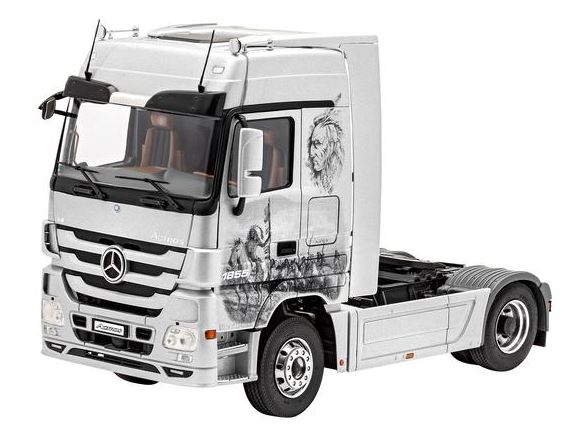 Revell of Germany 80-7425 1:24 Mercedes-Benz Actros MP3 This is a Revell of Germany 80-7425 1:24 Mercedes-Benz Actros MP3. The MB Actros has been in production since 1996. With the introduction of this heavy goods vehicle Mercedes-Benz introduced electronic engine and transmission control, an electronically controlled braking system and inter-connectivity in commercial vehicles as part of their so-called Telligent Strategy. Not just the long period of production nor the high sales figures but also multiple awards of Truck of the Year prove the success of this tractor unit. The Actros ultimately sets the standard as a measure of reliability in commercial vehicles. The first major modifications occurred in 2003, the second facelift was undertaken in 2008. With this stage - internally designated as Model Project 3 (MP = 3) - the latest modification of the first generation Actros is complete. Furthermore, the Actros continues to offer a confident and completely successful mix of efficiency, performance and comfort. The Actros is powered by the proven six-cylinder OM 541 engine with a cubic capacity of 12 litres or the OM 542 - V8 engine with 16 litres cubic capacity. They produce between 320 and 598 bhp respectively and both meet the Euro 5 emission standard. Both engines have proved themselves in the past with their pulling power and concurrent fuel economy. Unlike its predecessor the radiator grill of the MP 3 has only three ribs which gives it a much more contoured appearance. This features Detailed, multi-part 8-cylinder turbo-diesel engine, Multi-part body, 2 axle chassis, Detailed chassis with separate additional parts, Spare wheel including mounting, Moving front-wheel steering linkage, Authentic wheel rims, Rotating wheels, Detailed suspension, Side panels, Large area windscreen, Detailed driving cab including interior detail, can be tilted forwards, Rear view mirrors and windscreen wipers, Instructions for three livery versions. Skill Level: