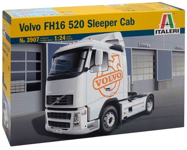 """Italeri 3907S 1:24 Volvo FH16 520 Sleeper Cab This is an Italeri 3907S 1:24 Volvo FH16 520 Sleeper Cab. The Volvo FH range was introduced by the Northern European Company in 1993 as the most updated solution to heavy road transportation needs. During the time, Volvo FH has constantly been evolved and improved to better respond to customer needs changes. In 2001, the third generation of FH range was introduced on the market. The main improvements has been done on the transmissions and gearbox and on the adoption of new electronic systems to enhance the on road performance, safety and drivability. Great attention to the comfort on board thanks to the adoption of a modern design new cabin. In particular, the """"Sleeper Cab configuration was able to provide a very high standard for the rest of drivers while not driving. This is Type: Trucks, Period: Modern, Country: Sweden, Skill: 3, Model Dimensions: 24cm, and Box Dimensions: 373 x 241 x 96mm.Condition: Factory NewOperational Status: FunctionalThis item is brand new from the factory.Original Box: YesManufacturer: ItaleriModel Number: 3907S MSRP: $64.99Category 1: Model KitsCategory 2: 1:24 ScaleAvailability: Ships in 1 Business Day!The Trainz SKU for this item is P12174422. Track: 12174422 - No Location Assigned - 001 - TrainzAuctionGroup00UNK - TDIDUNK"""