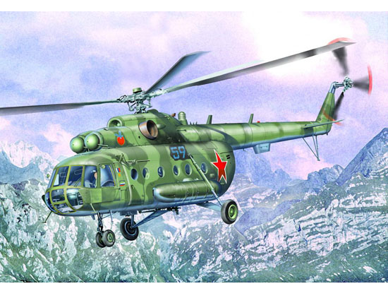 Trumpeter Models 5102 1/35 Mil Mi17 Hip-H Russian Helicopter Mi-17, entered service in 1975, is the highly improved Mi-8, with more powerful engines for 'hot and high' conditions. NATO calls it HIP H. The USSR armed forces called it Mi-8MT. It first showed off in Paris Air show in 1981, and exported to Cuba in 1983. In fact many Mi-8MT in USSR forces are not brand new but converted from former Mi-8s. Such as the Mi-8 electronic countermine version is developed into Mi-17P. The Mi-17 can be recognized because it has the tail rotor at the starboard side, instead of the port side. The Mi-17 added a number of improvements to its predecessor, including a vibration damper to increase comfort for crewmembers and passengers. The helicopter features a high thrust-to-weight ratio pair of TVZ-117MT or TVZ-117VM shaft-turbine engines with a takeoff power of 1,900 hp. The Mi-17 can carry up to 30 troops and up to 20 wounded; it can also be used for in-flight unloading of special cargoes. The transport version of the MI-17 helicopter is intended to carry cargoes (loads) in the cargo compartment, including long-size cargo with partially- opened or removed cargo doors, external loads, or executives (up to 24 persons). Interior seats are removable for cargo carrying. The rear clamshell doors open, an internal winch facilitates loading of heavy freight. Floor has tie down rings throughout. The aircraft carries a rescue hoist capable to 150 kg. External stores are mounted on weapons racks on each side of the fuselage. The Mi-17 has six external hard points. The Mi-17 is provided with missiles, bombs, small arms and cannonsParamentItem No 05102Item Name Mi-8MT/Mi-17 Hip-H Helicopter Bar Code n/aScale 1:35Item Type Static AircraftModel Brief Main rotor diameter: 608.5mm, Overall length, rotors turning: 721mmTotal Parts 263pcsMetal Parts n/aPhoto Etched Parts Rain sweeper and seatbeltsFilm Parts Instrument partResin Parts n/aTotal Sprues 9pcsPaint Schemes For 3 a/c of Mi-8MT/Mi-17 (Czech