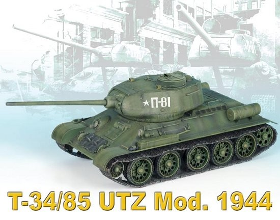 Dragon 6203 1/35 T34/85 UTZ Mod 1944 Tank The kit consists of 211 parts in light grey plastic plus another 210 for the individual track links plus a small decal sheet and short length of twine with the standard of moulding crisp and flash free as we have come to expect from Dragon with their recent Panther and Hornisse/Hummel kits.This new T-34-85 is basically the same kit as the T-35-85 Mod. 1944 (kit No.6066) with new parts for the UTZ features. A basic rundown of the kit sees a fairly conventional breakdown of parts of lower hull tub with the main feature being separate internal suspension spring channels and separate axle stubs for good detail definition with it being easy to articulate the suspension if you wish. The single upper hull has all the major features such as driver's hatch, forward machine gun coaming, engine deck details and rear exhausts as separate parts for good detail definition plus many other small detail parts as separate items. One of the differences for this kit is the rounded front fenders which require you to cut off the square fenders from kit 6066. The instructions show the older square fenders except for the step showing the surgery but that's only a minor point. Another major change is the starfish wheels which have perforated rubber tyres and different style wheel rib details with the outer idler wheels also have different details from the first kit.Condition: Factory NewOperational Status: FunctionalThis item is brand new from the factory.Original Box: YesManufacturer: DragonModel Number: 6203MSRP: $75.75Category 1: Model KitsCategory 2: 1:32 ScaleAvailability: Ships in 3 to 5 Business Days.The Trainz SKU for this item is P12115811. Track: 12115811 - FS - 001 - TrainzAuctionGroup00UNK - TDIDUNK