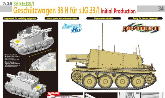 Dragon 6270 1:35 SdKfz 138/1 Geschutzwagen 38H Tank w/Intital sIG 33/1 This is 1:35 SdKfz 138/1 Geschutzwagen 38H Tank w/Intital sIG 33/1 GunFeatures:  Brand new Initial Production of s.IG.33 gun-mounted Geschützwagen38 Newly designed fighting compartment w/full interior detail of Initial Production Ultra-slim injection-molded armor plates Great detail gun trestle for s.IG.33 s.IG.33 gun carriage accurately represents the real one Two options for shims on gun mount Recoil system rendered w/realistic bolt detail Optional armor plates allow gun to be elevated at different elevations Travel lock can be positioned in travel or combat mode Locking handle has crisp detail Aluminum gun barrel w/rifling is finely reproduced New arrangement of ammunition rounds, gas mask case, cartridge storage, rifle rack and tool storage Nut and bolt detail on armor plates realistically rendered Great detailed on Fu5-Geräte 10W.S.h transmitter and UkwEh receiver New rain-guard for radio set Weather tarp supports finely reproduced Armor plates can be positioned open/closed Ammo box is finely detailed Photo-etched spare-track bracket on armor plate and fender Engine deck w/bolt detail Photo-etched engine exhaust grill Glacis plate w/nut detail sharply reproduced Hull interior details such as driver's controls, transmission and seats included Tow hook can be assembled open/closed Rear panel has crisp details Condition: Factory NewOperational Status: FunctionalThis item is brand new from the factory.Original Box: YesManufacturer: DragonModel Number: 6270MSRP: $59.95Category 1: Model KitsCategory 2: 1:32 ScaleAvailability: Ships in 3 to 5 Business Days.The Trainz SKU for this item is P12028484. Track: 12028484 - FS - 001 - TrainzAuctionGroup00UNK - TDIDUNK