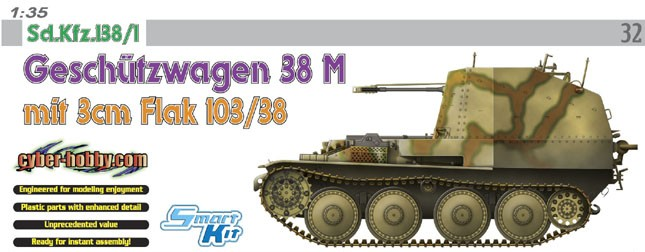 Dragon 6481 1:35 SdKfz 138/1 GeschutzWg 38M w/3cm Flak 103/38 Gun These Cyber Hobby kits are officially known as the Master Grade Model by Dragon as they uses genuine Dragon parts, have a more obscured topic selection, uses special markings, and are normally loaded with bonuses.FEATURES - Brand new mounted version of 3cm Flak 103/380. - Detailed ammo box and photo-etched brackets. - Fully detailed 3cm Flak 103/38 assembly. - Slide-molded gun barrel with hollow muzzle end. - Flash suppressor and muzzle brake reproduced in plastic and photo-etched parts. - 3cm ammunition clip and spare rounds have subtle detail. - Detailed ammo box and photo-etched brackets. - Delicately detailed gun sight. - New gun pedestal for 3cm Flak 103/38. - Newly designed 3cm Flak 103/38 gun cradle. - Driver's compartment with interior detail-transmission and engine. - Fighting compartment with full interior detail. - Ultra-slim injection-molded armor plates. - Spent-shell case frame and preformed photo-etched mess included. - Fine detail on gunner's seat. - Accurately reproduced hard rail has two options. - Fully detailed upper hull with driver's hatch. - Sharply detailed hand wheels have optional photo-etched parts. - Fine detail on gunner's seat. - Nut and bolt detail on armor plates realistically rendered. - Slide-molded one-piece chassis with delicate detail. - Crisp detail on sprockets and idler wheels. - Accurately reproduced handrail has two options. - Photo-etched rain guard for radio. - Delicate detail on Fu5-Gerate 10W.S.h. transmitter and UkwEh receiver with transformer. - Magic tracks with casting-number detail etched on every link. - Rear armor plate can be assembled open-closed. - Weather tarp supports finely reproduced. - Firing-data board, cartridge storage, rifle rack and tool storage with carefully defined detail. - Cartridge storage has full detail. - 98k rifle rack accurately represented by photo-etched parts.Condition: Factory NewOperational Status: FunctionalThis item is
