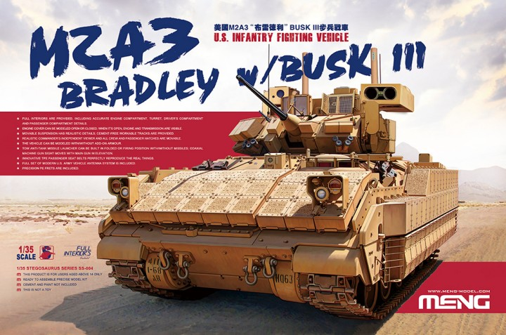 MENG MODEL KITS SS4 1/35 M2A3 Bradley US Infantry Fighting Vehicle w/B M2A3 Bradley BUSK III IFV, the U.S. Army's most advanced IFV at present, is a variant of the M2 Bradley which went into service in 1980s. This IFV is installed with the Force XXI Battle Command Brigade and Below (FBCB2) Battlefield Command Information System and Bradley Urban Survivability Kits (BUSK). It has strong survivability and informatization combat capabilities. Combat weight of a M2A3 Bradley BUSK III IFV with ERA modules is about 30t. It is powered by a 600hp VTA-903T diesel engine with an HMPT-500-3 hydromechanical transmission. The two-man turret consists of a 25mm M242 Bushmaster chain gun, a 7.62mm M240C coaxial machine gun and a two-tube TOW anti-tank missile launcher. The rear passenger compartment can hold 6 soldiers and there's room for another one behind the driver's seat. So taking into account of the crew, it can hold 10 people in total.This IFV serves in U.S. troops stationed in the Continental United States, Afghanistan, Iraq and South Korea. KIT INFOThis 1/35 scale U.S. Infantry Fighting Vehicle M2A3 Bradley w/BUSK III model is 203.5mm long, 107.3mm wide and 97.1mm high (to the top of the closed Commander's Independent Thermal Viewer). In addition to features like accurate shape, rich details and perfect fit, this kit also provides full hull and turret interiors (incl. engine, transmission and all parts in the driver's compartment and passenger compartment). The real vehicle's complete structure and details are precisely replicated with movable hatches, workable tracks, movable suspension and the linkage of the coaxial machine gun sight.Condition: Factory NewOperational Status: FunctionalThis item is brand new from the factory.Original Box: YesManufacturer: Meng Model KitsModel Number: SS4MSRP: $99.99Category 1: Model KitsCategory 2: 1:32 ScaleAvailability: Ships in 3 to 5 Business Days.The Trainz SKU for this item is P12127351. Track: 12127351 - FS - 001 - TrainzAu