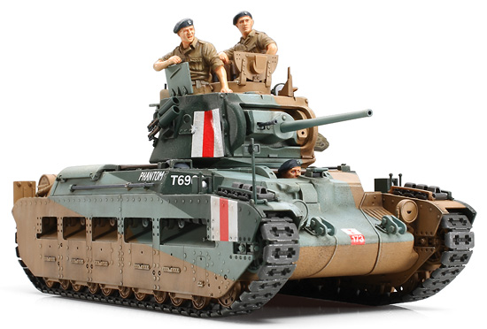Tamiya 35300 1/35 British Matilda Mk III/IV Infantry Tank At the beginning of 1930, the British army made the decision to produce tanks for different roles, with production of the A12 Matilda beginning in 1936. At that time, the Matilda had the thickest armor at 60mm, came armed with a 2-pounder cannon, and had thick side skirts which protected the Japanese type bogies. Powered by two diesel engines, the Matilda had a top speed of 24km/hr which was deemed appropriate as it matched the walking speed of infantry. At the North African front, thanks to its impenetrable armor, the Matilda completely defeated the opposing Italian forces. Because of the strength of their armor, the Germans began to use 88mm guns which were the only weapons that could penetrate the Matilda. The Matilda was used throughout WWII and was also used by Soviet, Australian, and Allied forces under the Lend-Lease Act. This is a 1/35 assembly kit model of the British Infantry Tank Matilda which saw action atthe North African Front during WWII. Length: 174mm, Width: 72mm. The Matilda's mechanical form has been accurately reproduced. The number of parts required for the assembly of the gun turret, hull, and the complicated suspension has been minimized for ease of assembly. Tall and short cupolas and two types of antennas are included in the kit. Assembly and belt type tracks are included. Full-size commander figure, as well as a loader and driver torso figures are included.(Total 3) 3 kinds of decals for the North African front are included. The Matilda would look fantastic alongside other 1/35 vehicles from the North African front such as German Armored Car Sd.Kfz.223 (Item 35268), German Kubelwagen Type82 (Item 35238), German Armored Car Sd.Kfz.222 (Item 35286), Italian Medium TankCarro Armato M13/40 (Item 35296).Condition: Factory NewOperational Status: FunctionalThis item is brand new from the factory.Original Box: YesManufacturer: TamiyaModel Number: 35300MSRP: $51.00Category 1: Mo