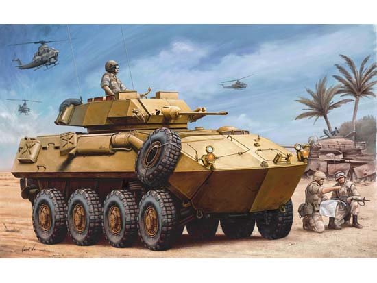 Trumpeter Models 349 1:35 USMC LAV-25 Piranha Light Armored Vehicle The LAV-25 had a two-person, power-operated turret armed with an M242 25mm automatic cannon called the Chain Gnu, and two 7.62mm M240 machine guns. While there is room in the rear hull compartment of the LAV-25 for up to six infantrymen, the Marines eventually decided to use the vehicle as a reconnaissance asset instead of an armored personnel carrier. This highly-detailed plastic model kit is an accurate representation of the military vehicle.Condition: Factory NewOperational Status: FunctionalThis item is brand new from the factory.Original Box: YesManufacturer: Trumpeter ModelsModel Number: 349MSRP: $29.95Category 1: Model KitsCategory 2: 1:32 ScaleAvailability: Ships in 3 to 5 Business Days.The Trainz SKU for this item is P12123724. Track: 12123724 - FS - 001 - TrainzAuctionGroup00UNK - TDIDUNK