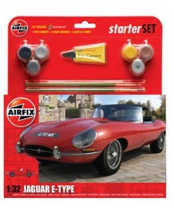 Airfix Models 55200 1:32 Jaguar E Type Car Medium Starter Set w/paint