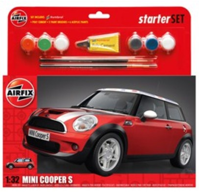Airfix Models 50125 1:32 Mini Cooper S Car Large Starter Set w/paint &