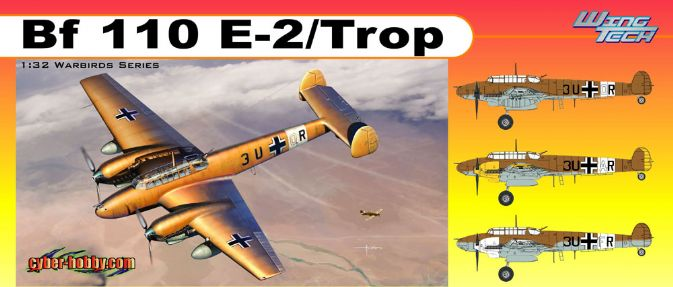 Cyber Hobby Plastic Models 3209 1:32 MESSERSCHMITT Bf-110E-2 This is a Cyber Hobby Plastic Models 3209 1:32 MESSERSCHMITT Bf-110E-2. Features: Authentic Bf 110 E-2 /Trop, Pitot tube mounted beneath wing, Rudder delicately represented, True-to-scale tailwheel, Landing wheels realistically represented, Great details on nose with optional camera for modeling Bf100E-2 Tropical, Subtle antenna molded on underside of nose, Movable propeller blades w/accurate curved cross-section and true-tp-scale thickness, Detailed inspection covers with rivets, Three different depths of panel lines exhibit astonishing level of minute detail, Bomb rack included, Wings represent laminar-flow airfoil shape, Newly tooled air intake filter w/correct shape, Enlarged engine oil cooler, Landing-gear compartment with interior detail - struts delicately rendered, Slide-molded engine cowing cover has maximum detail, Well-defined control surfaces mimic those on real aircraft, Fuselage possesses metal-skinned detail, Pilot's seatbelt upgraded by photo-etched parts, Antenna devices located on underside of fuselage - loop antenna, antenna array and antenna mast, Included finely detailed boarding ladder, Landing gear can be posed lowered/stowed, Optional drop tank included, Engine composed of multiple crisply molded parts to maximize detail, Engine cowling cover can be assembled open/closed, Cockpit canopy with realistic ribbed detail thanks to slide molds, Cockpit Canopy antenna finely detailed, Cockpit canopy can be posited open/closed, Transparent cockpit canopy made from separate parts, Option of displaying canopy side windows open/closed, Intricate detail on underside of wings, Detailed under-wing air intakes and vents, Gunner's MG 15 with windproof cover for rear defense, Two drum-fed MG FF cannons inside the fuselage, Newly tooled photo-etched rear gunner seat, Intricate MG ammo included double drums for MG 15 rou