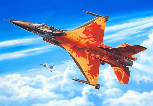 Revell of Germany 80-3980 1:72 Lockheed Martin F-16 Mlu Solo Display This is a Revell of Germany 80-3980 1:72 Lockheed Martin F-16 Mlu Solo Display. The F-16 is still one of the most successful combat aircraft in the world. In the mid-1990's a Mid-Life Update (MLU) modernisation program was started with the aim of uprating the European F-16's combat effectiveness. In 2009 the Dutch Air Force prepared a F-16 (MLU) in a very attractive livery for solo displays. The aircraft was given an orange / mother-of-pearl base colour with a red lion motif in very eye-catching colours to present the Netherlands at Air Shows. This aircraft is so popular that it is still performing the complete flying program during 2013. J-015 was stationed at Leeuwarden and is currently based in Volkel. This features Structured surfaces with recessed panel joints, Detailed Cockpit with instrument panel, Pilot figure with adjustable arm, Detailed Seat, Detailed nose and main undercarriage, Two-part thrust nozzle with interior detail, 2 AIM 9 guided missiles, 2 AIM 12 guided missiles, Fuselage and wing-tanks, Detailed Pylons. Skill Level: 4, Length: 207 mm, Wingspan: 143 mm, and Number of Parts: 98.Condition: Factory NewOperational Status: FunctionalThis item is brand new from the factory.Original Box: YesManufacturer: Revell of GermanyModel Number: 80-3980MSRP: $20.95Category 1: Model KitsCategory 2: 1:87 ScaleAvailability: Ships in 2 Business Days!The Trainz SKU for this item is P12122389. Track: 12122389 - No Location Assigned - 001 - TrainzAuctionGroup00UNK - TDIDUNK