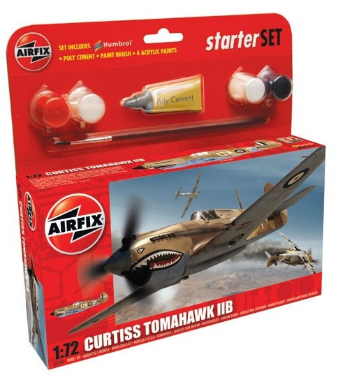 Airfix Models 55101 1:72 Tomahawk IIB Fighter Small Starter Set w/pain