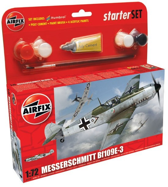 Airfix Models 55106 1:72 Bf109E3 Fighter Small Starter Set w/paint & g