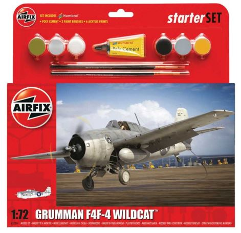 Airfix Products 55214 1:72 Grumman F4F-4 Wildcat Aircraft Starter Set