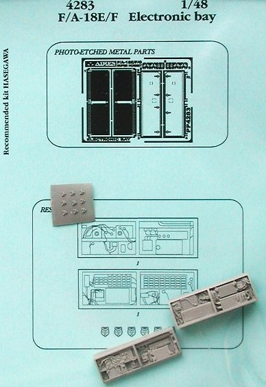Aires Hobby 4283 1:48 F/A18E/F Electronic Bay For HSG This is a 1:48 F/A18E/F Electronic Bay for Hasegawa Model kit accessory from Aires Hobby.Condition: Factory NewOperational Status: FunctionalThis item is brand new from the factory.Original Box: YesManufacturer: Aires HobbyModel Number: 4283MSRP: $16.49Category 1: Model KitsCategory 2: AccessoriesAvailability: Ships in 3 to 5 Business Days.The Trainz SKU for this item is P12058325. Track: 12058325 - FS - 001 - TrainzAuctionGroup00UNK - TDIDUNK